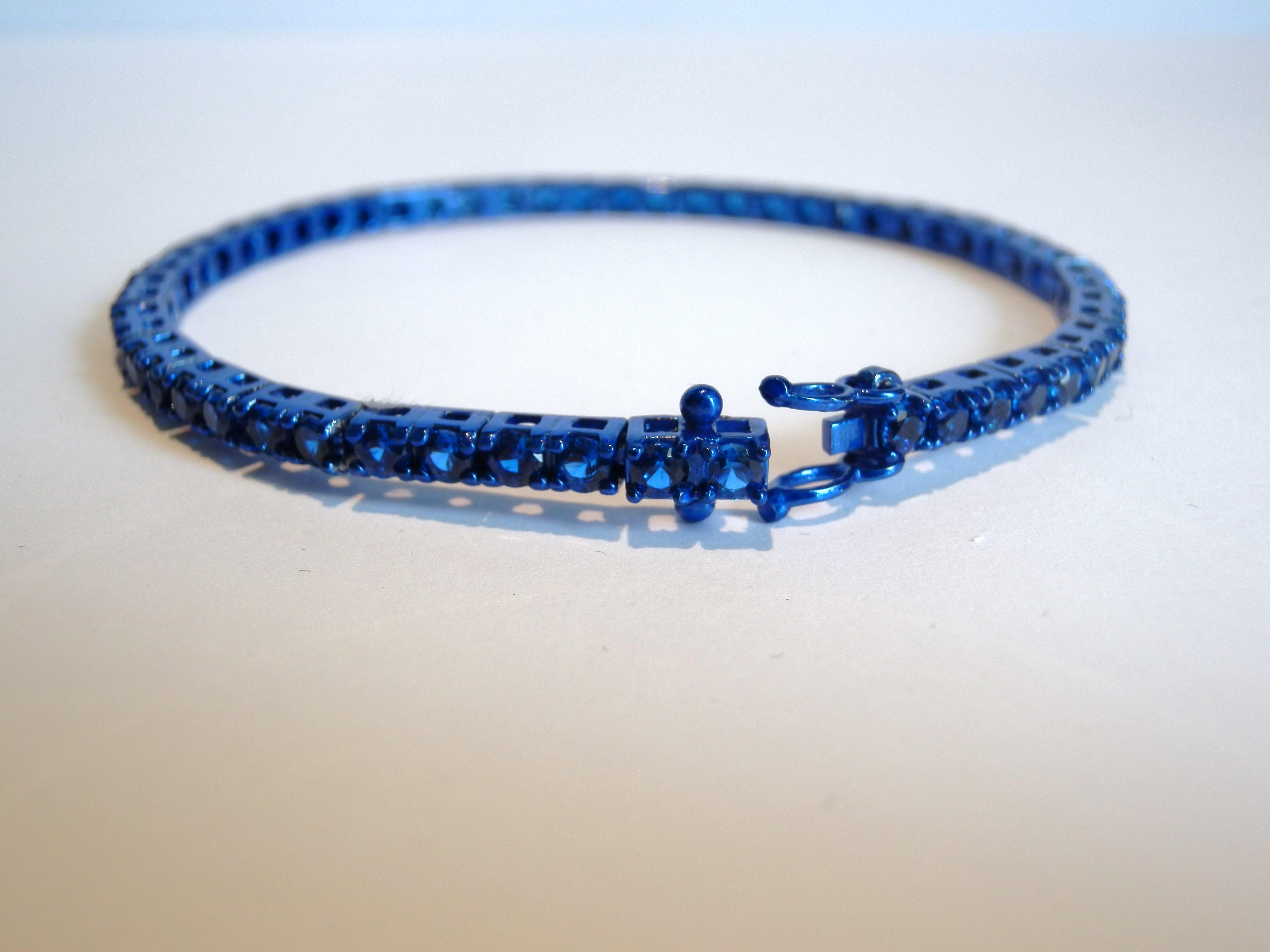 scarpe sportive 907cc 361b7 Bracciale Tennis Blu con pietre Blu