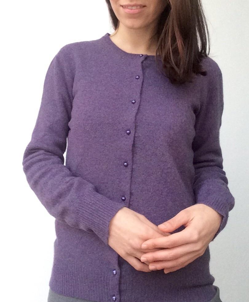 best website e350a 7859e Cardigan violetto con perline . Tg 42