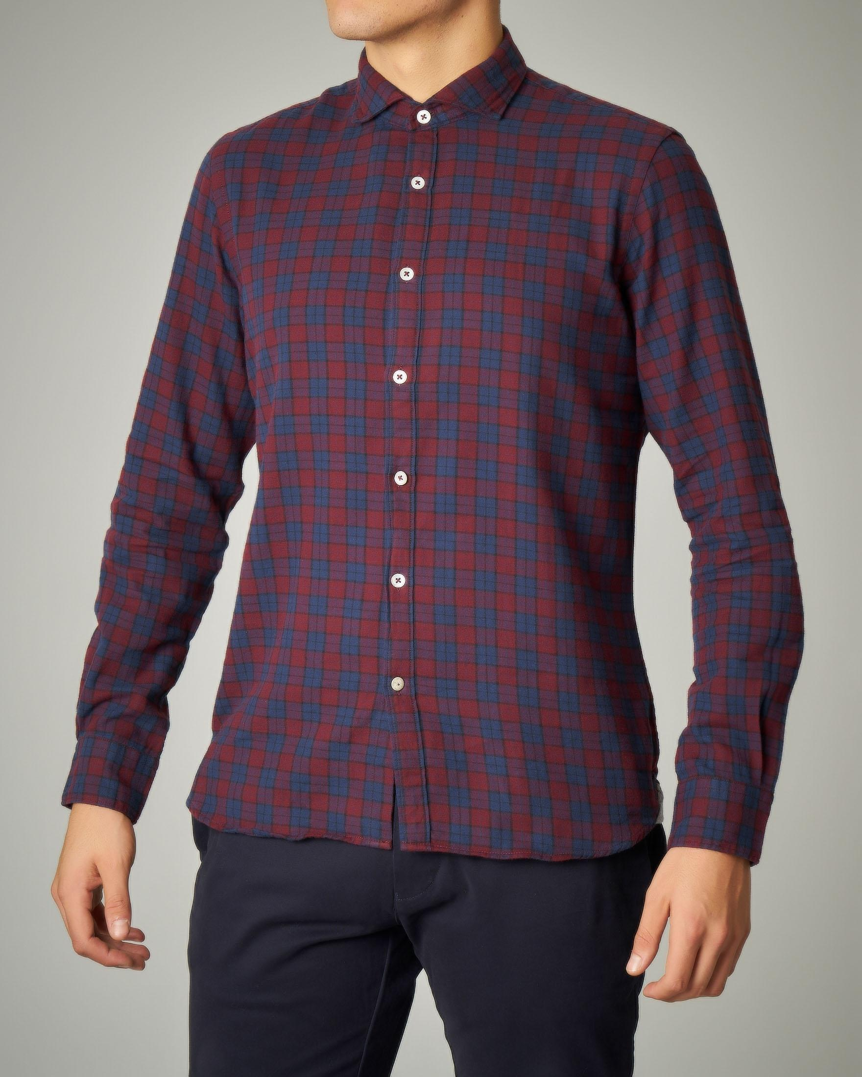 Camicia bordeaux a quadri