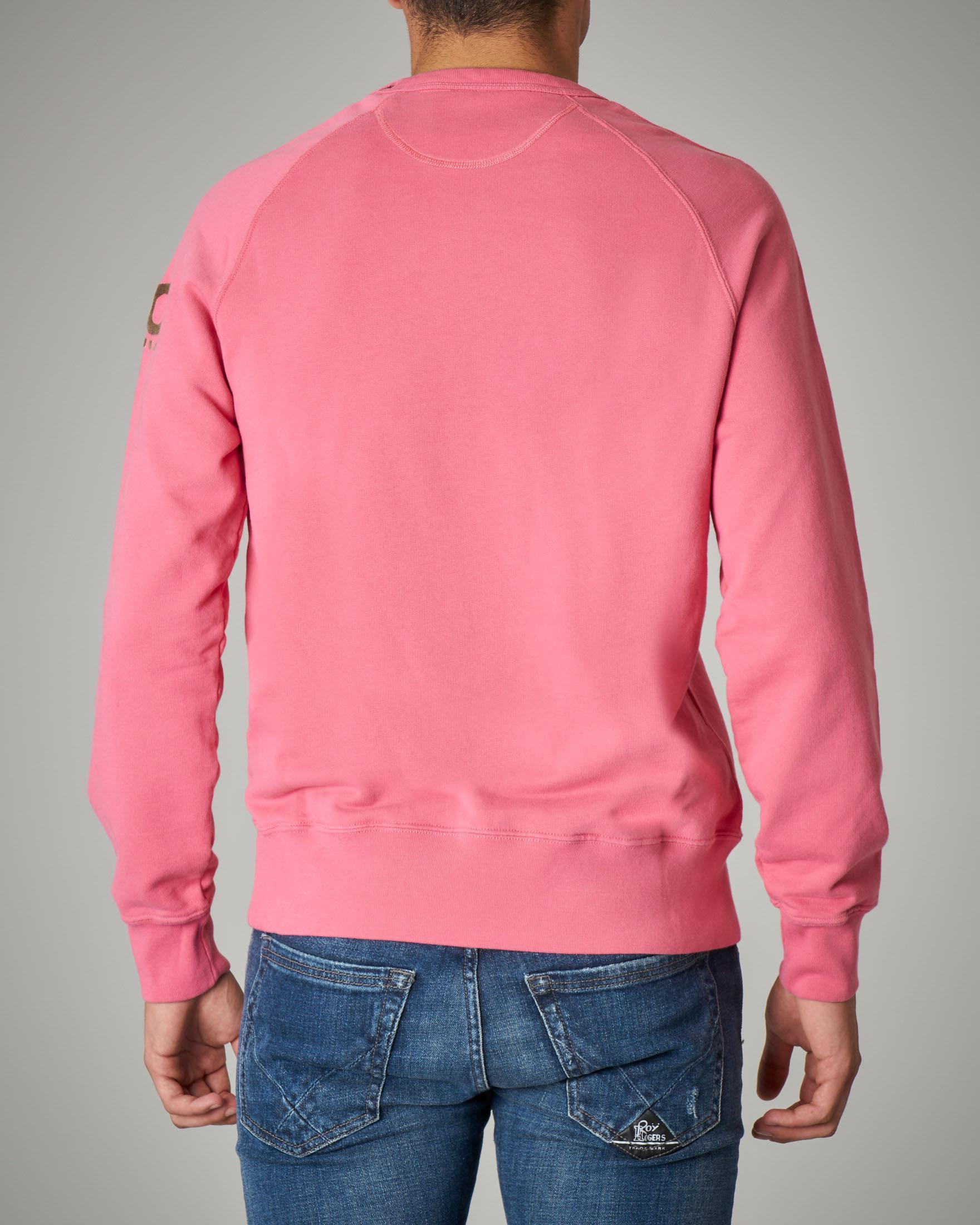 Felpa rosa girocollo in cotone