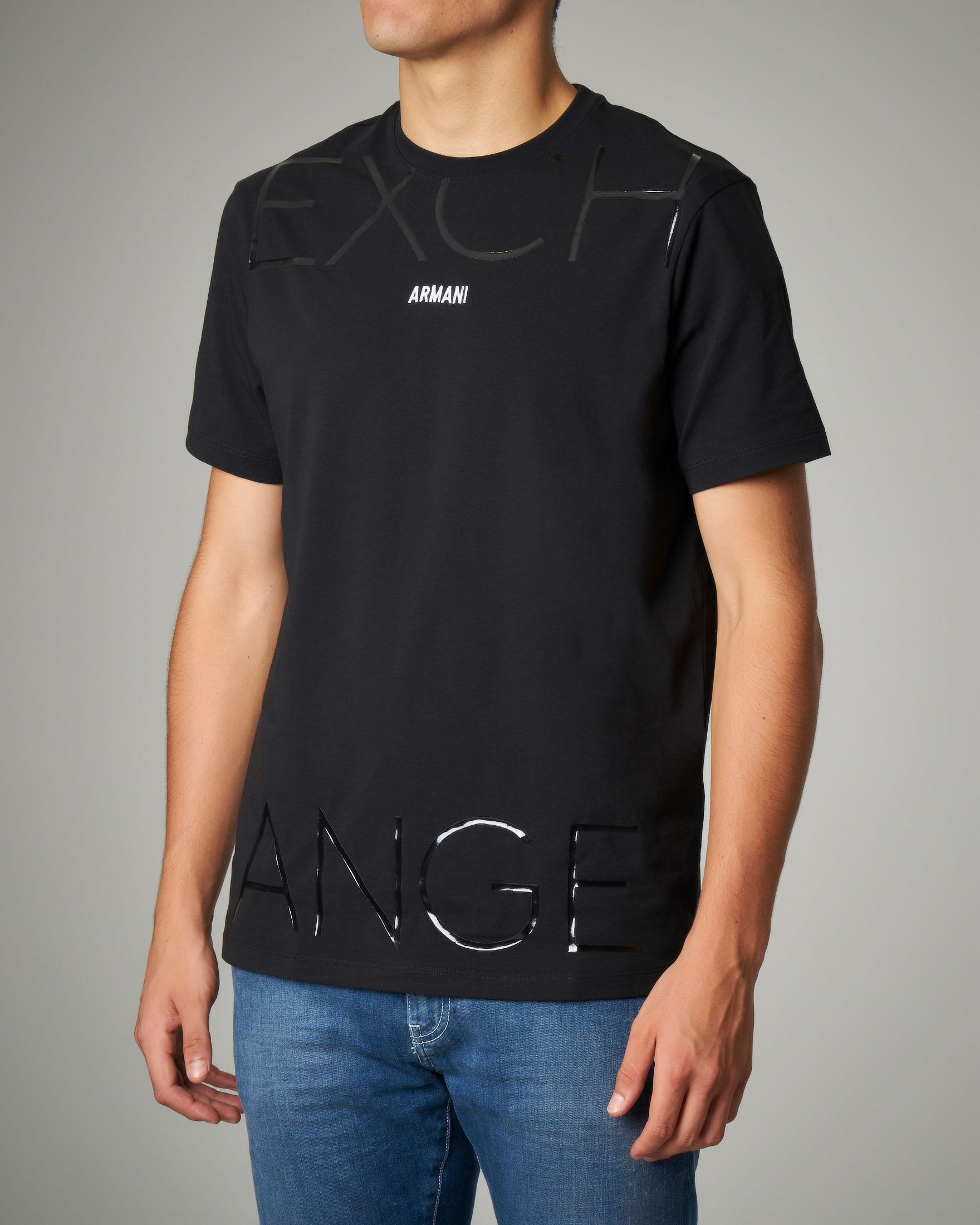 T-shirt nera stretch con logo