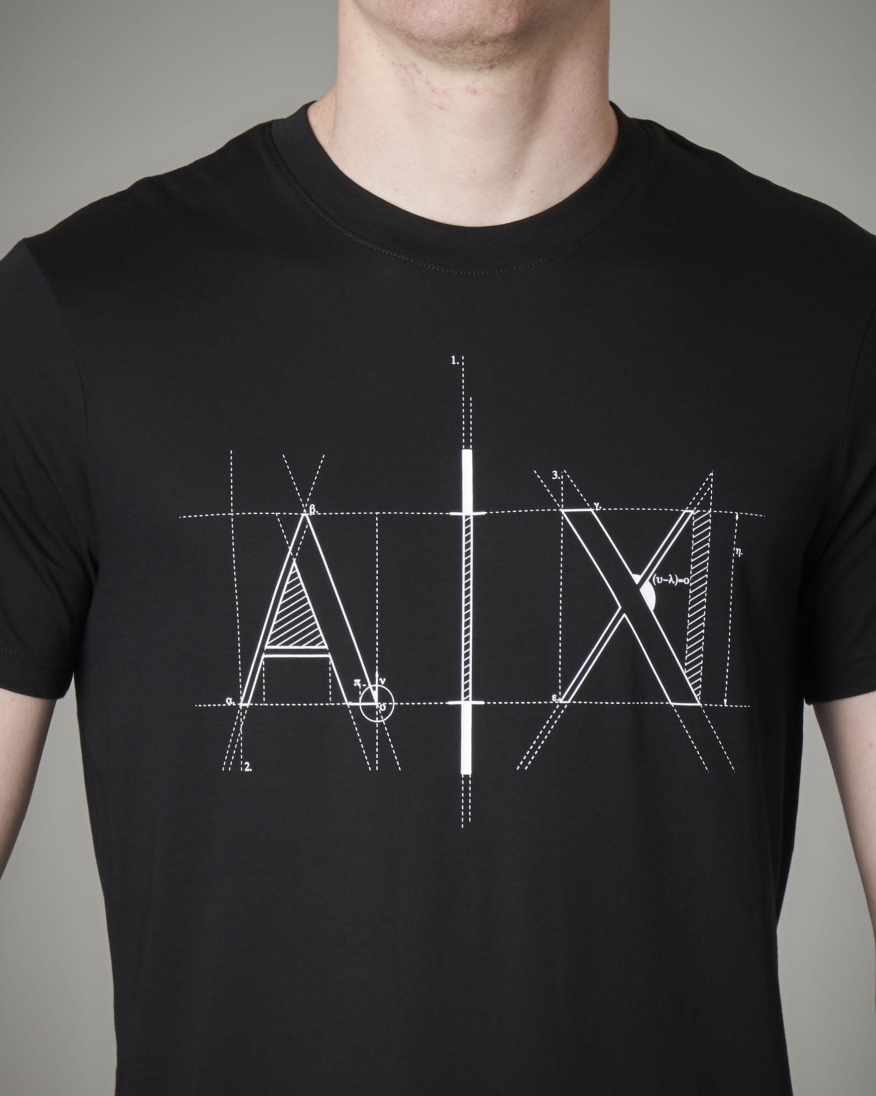 T-shirt nera in cotone con logo geometrico