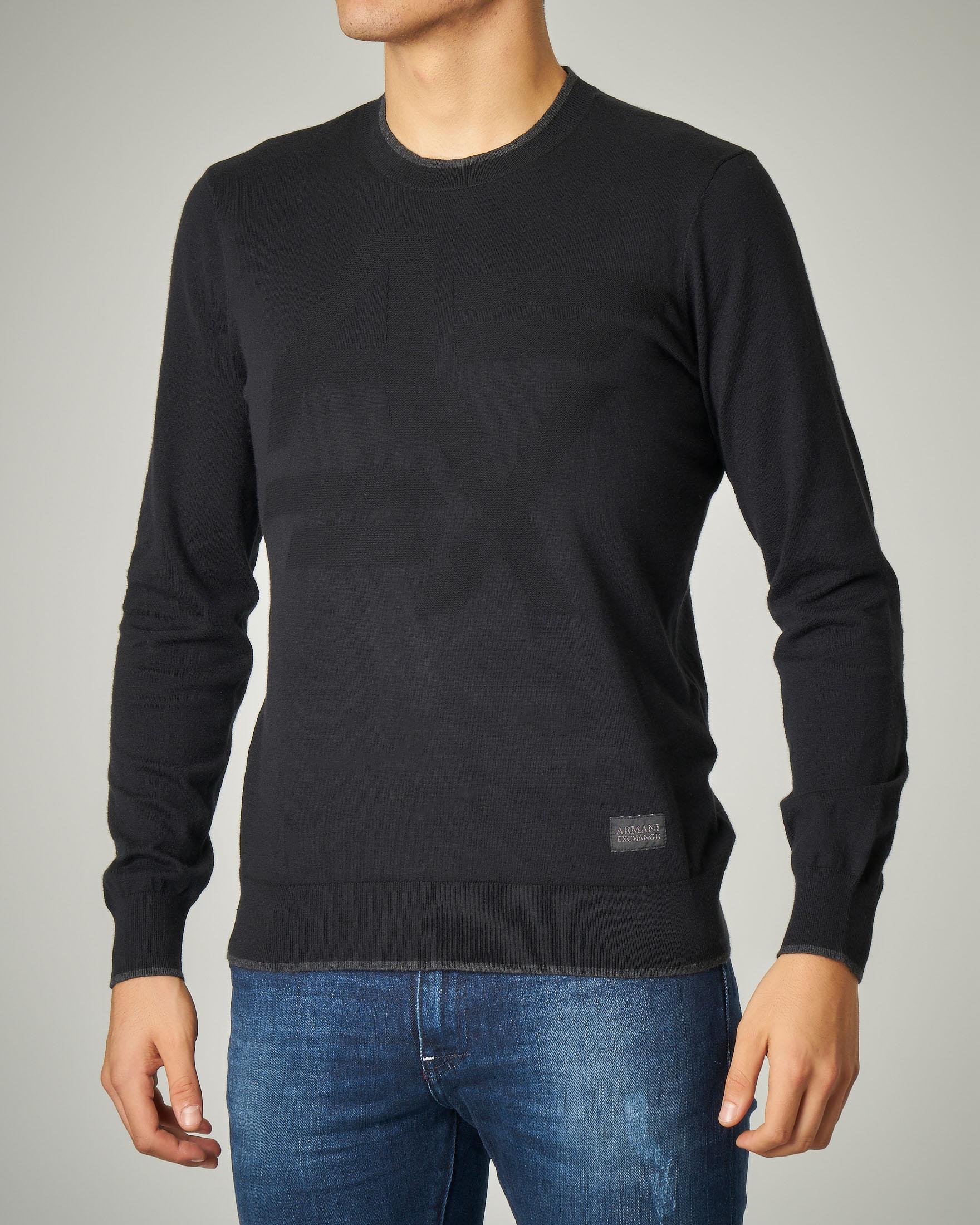 Maglia nera girocollo in cotone e cachemire con logo