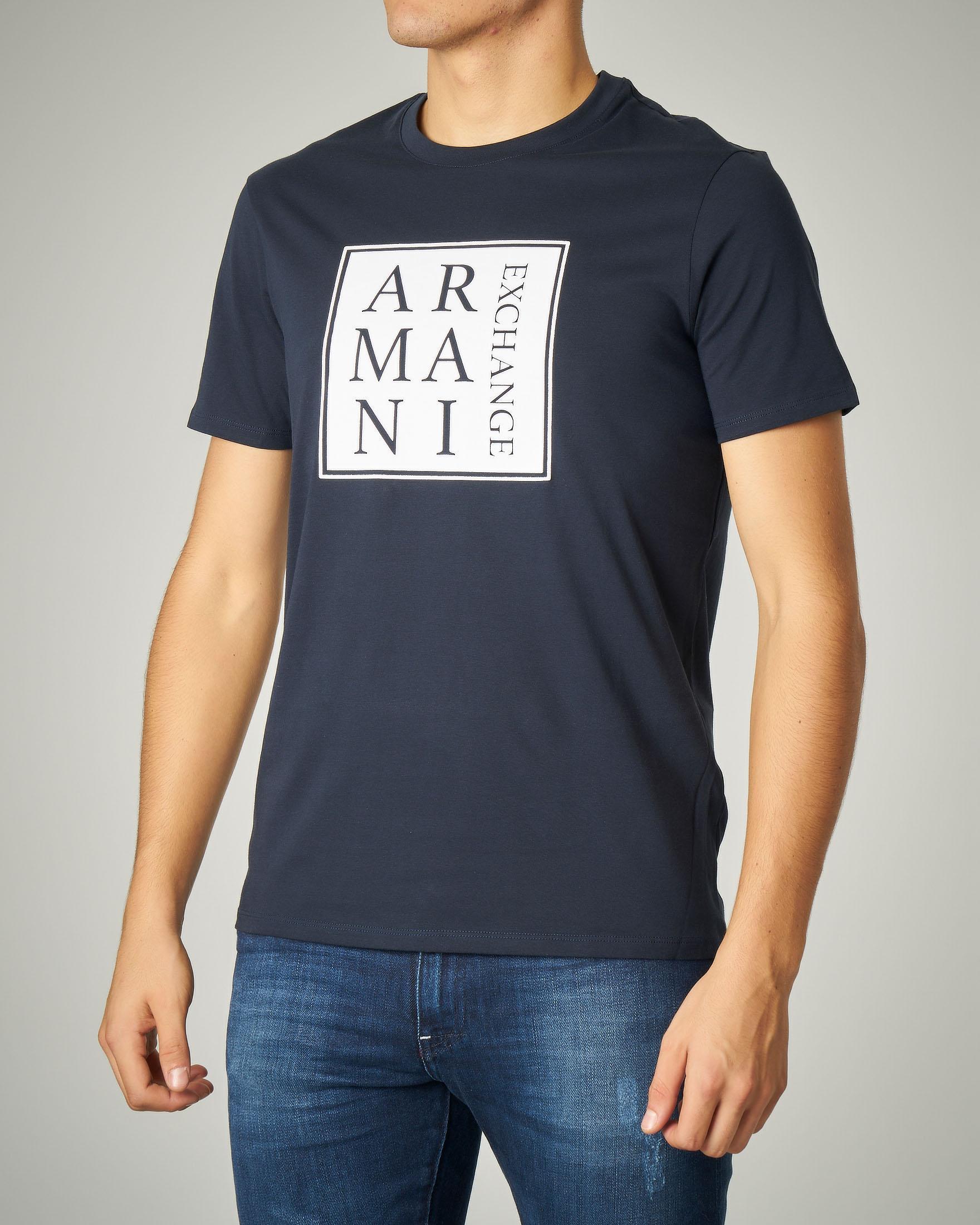 T-shirt blu in cotone con logo quadrato