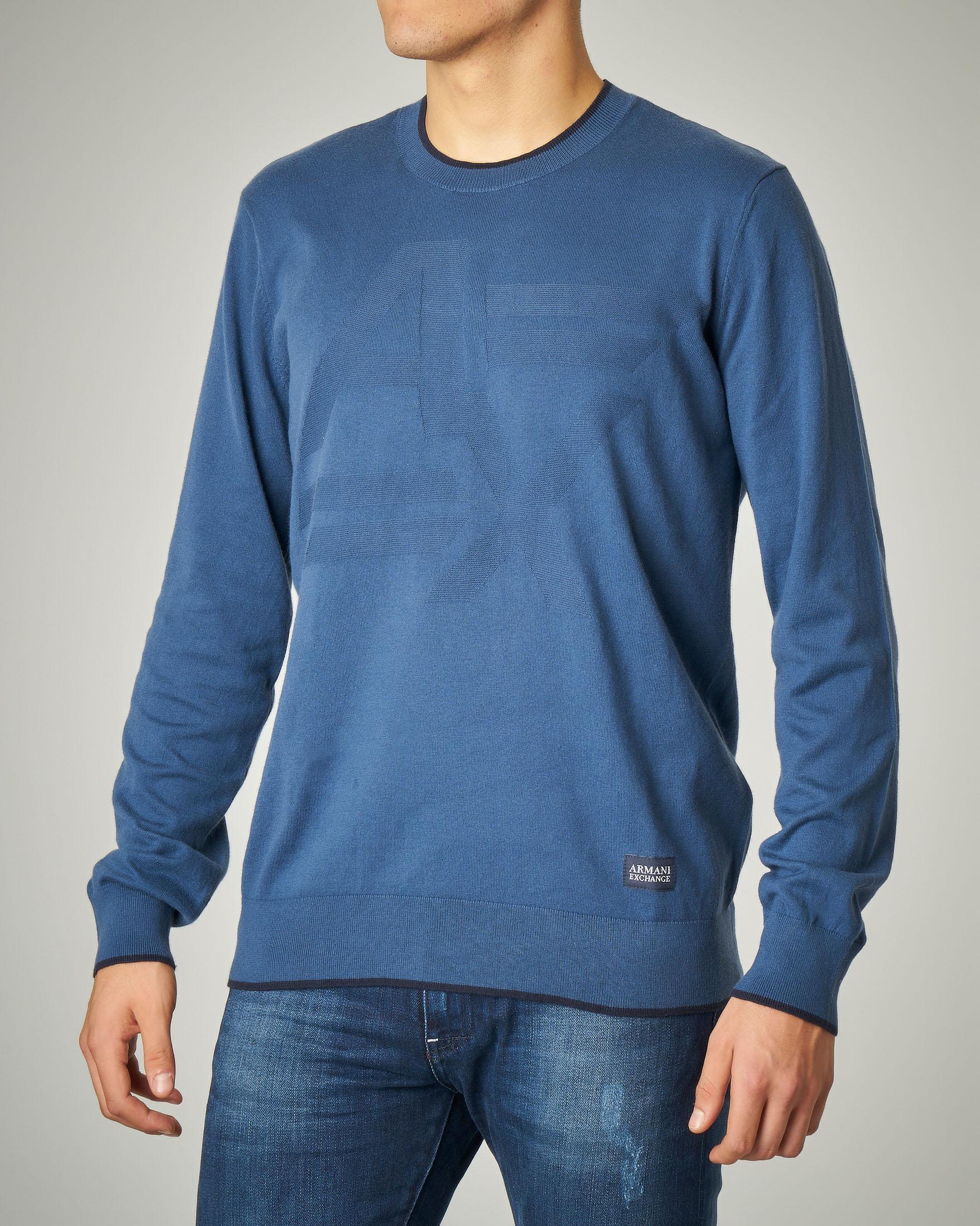 Maglia azzurra girocollo in cotone e cachemire con logo