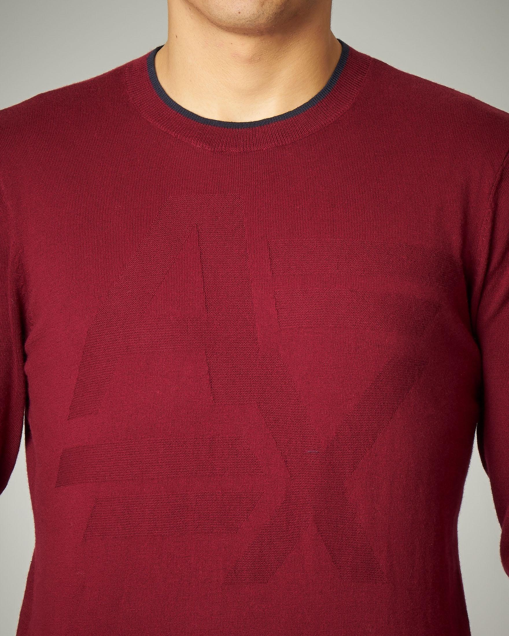 Maglia bordeaux girocollo in cotone e cachemire con logo