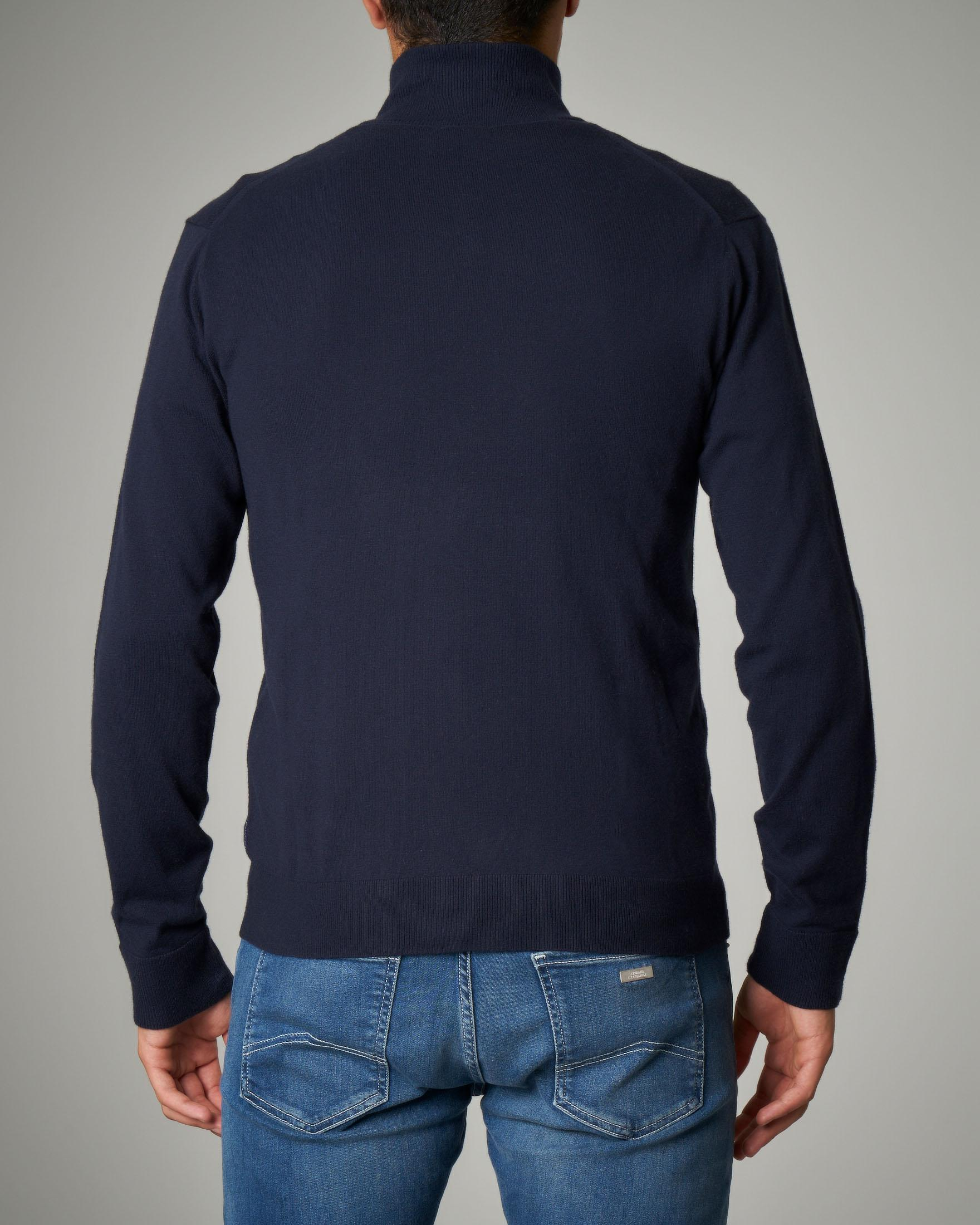 Maglia blu in cotone cachemire con zip
