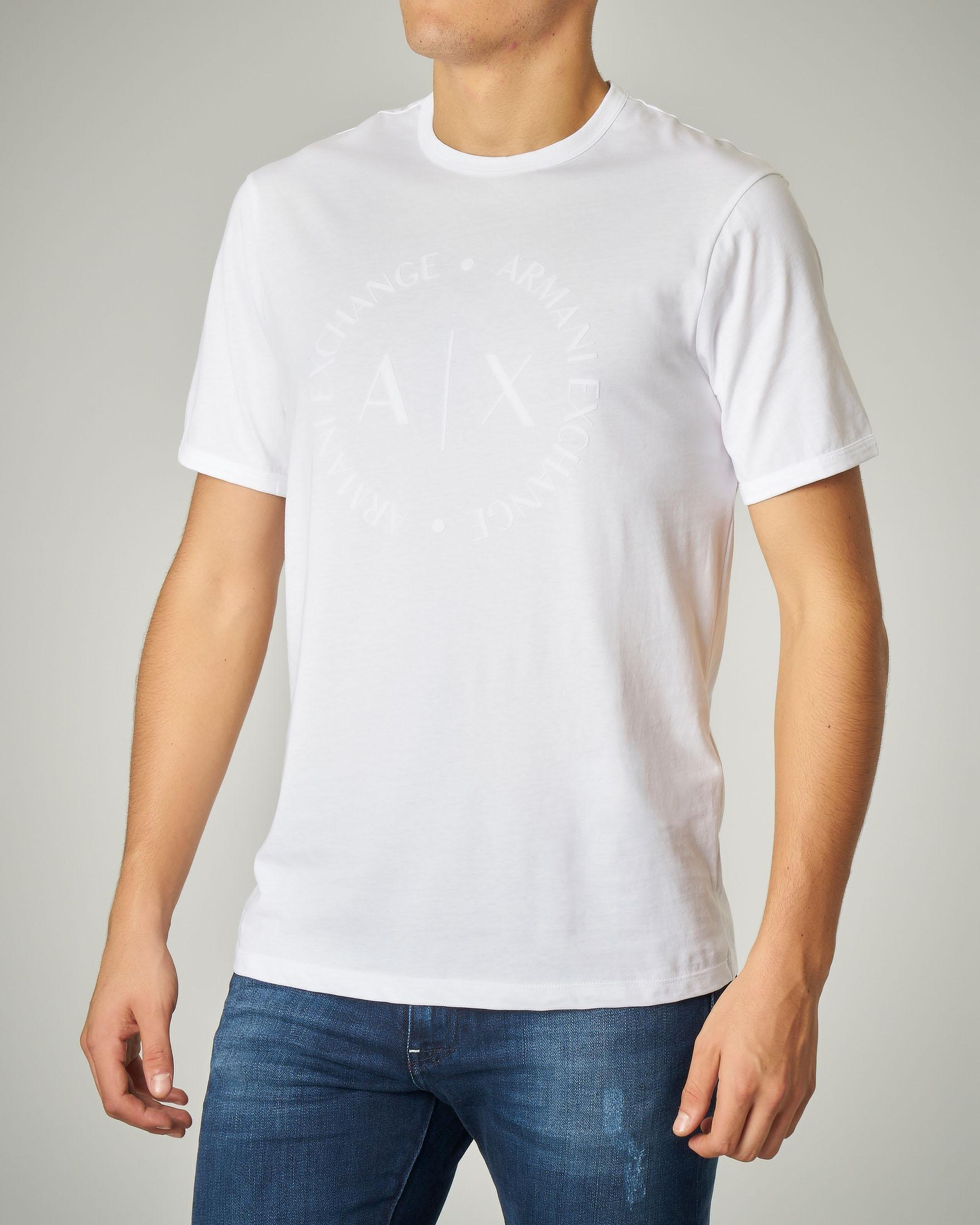 T-shirt bianca in cotone con logo floccato