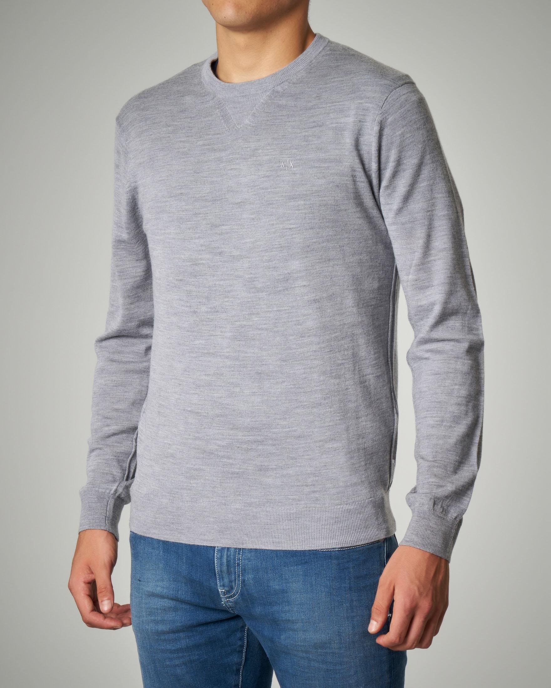 Maglia grigio chiaro in lana con logo