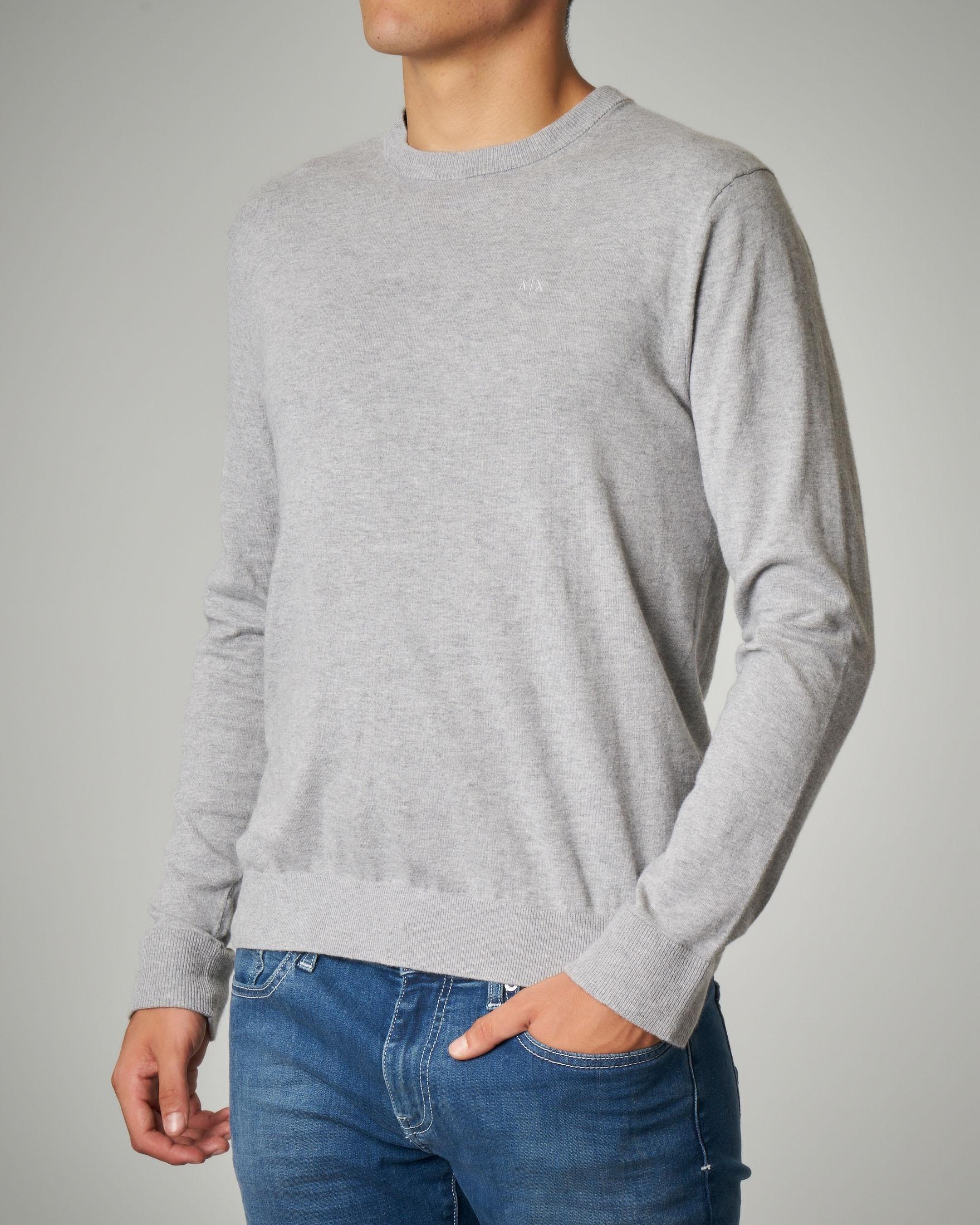 Maglia grigio chiaro girocollo in cotone e cachemire