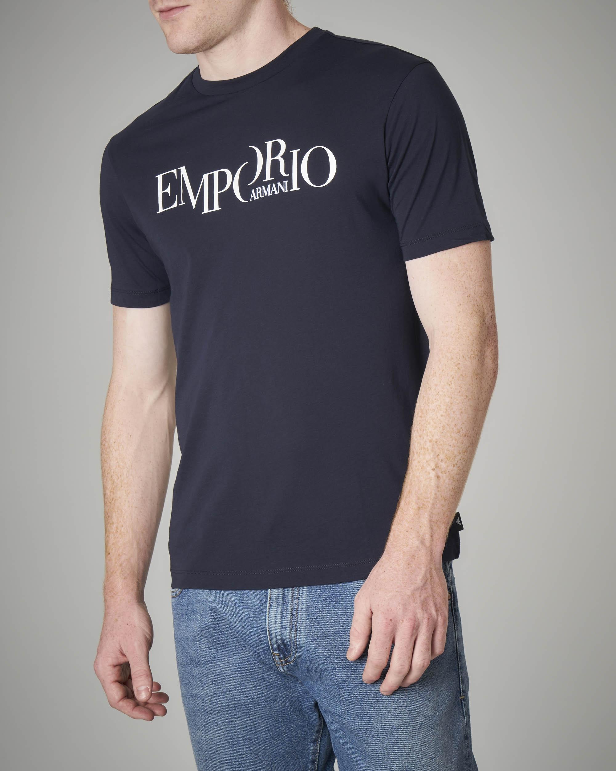 T-shirt blu con logo scritta