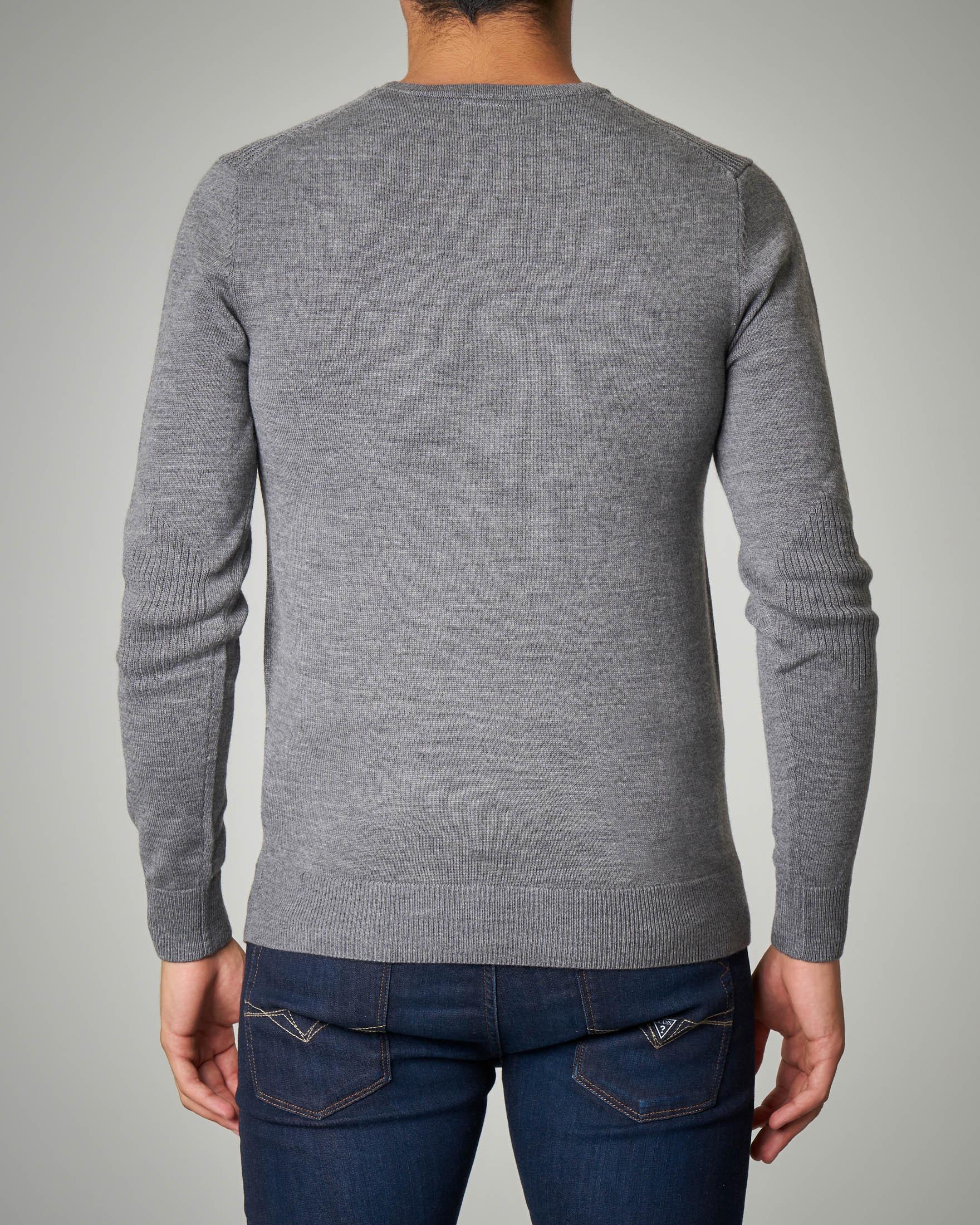 Maglia grigio chiaro girocollo maxi-logo