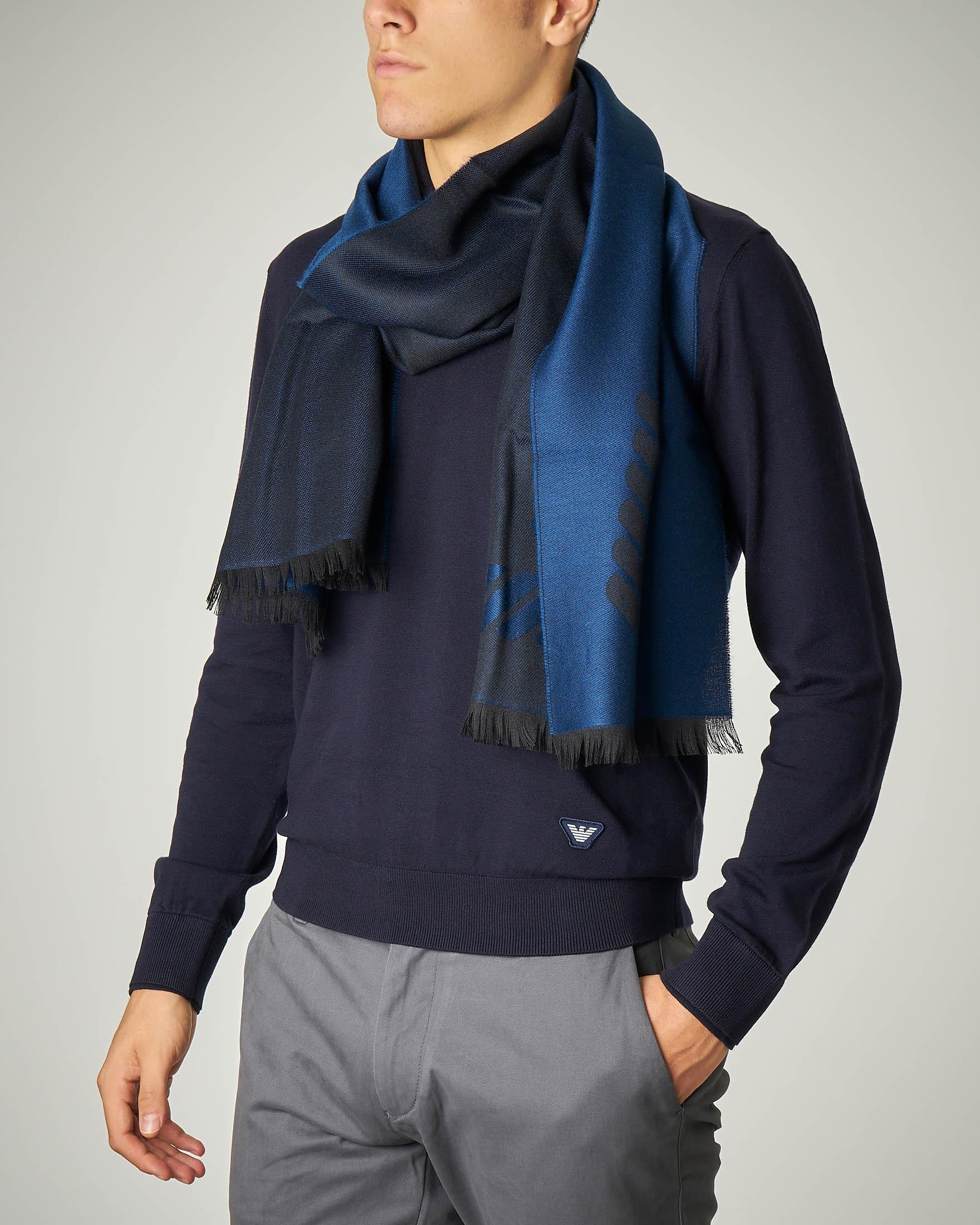 Sciarpa blu con logo