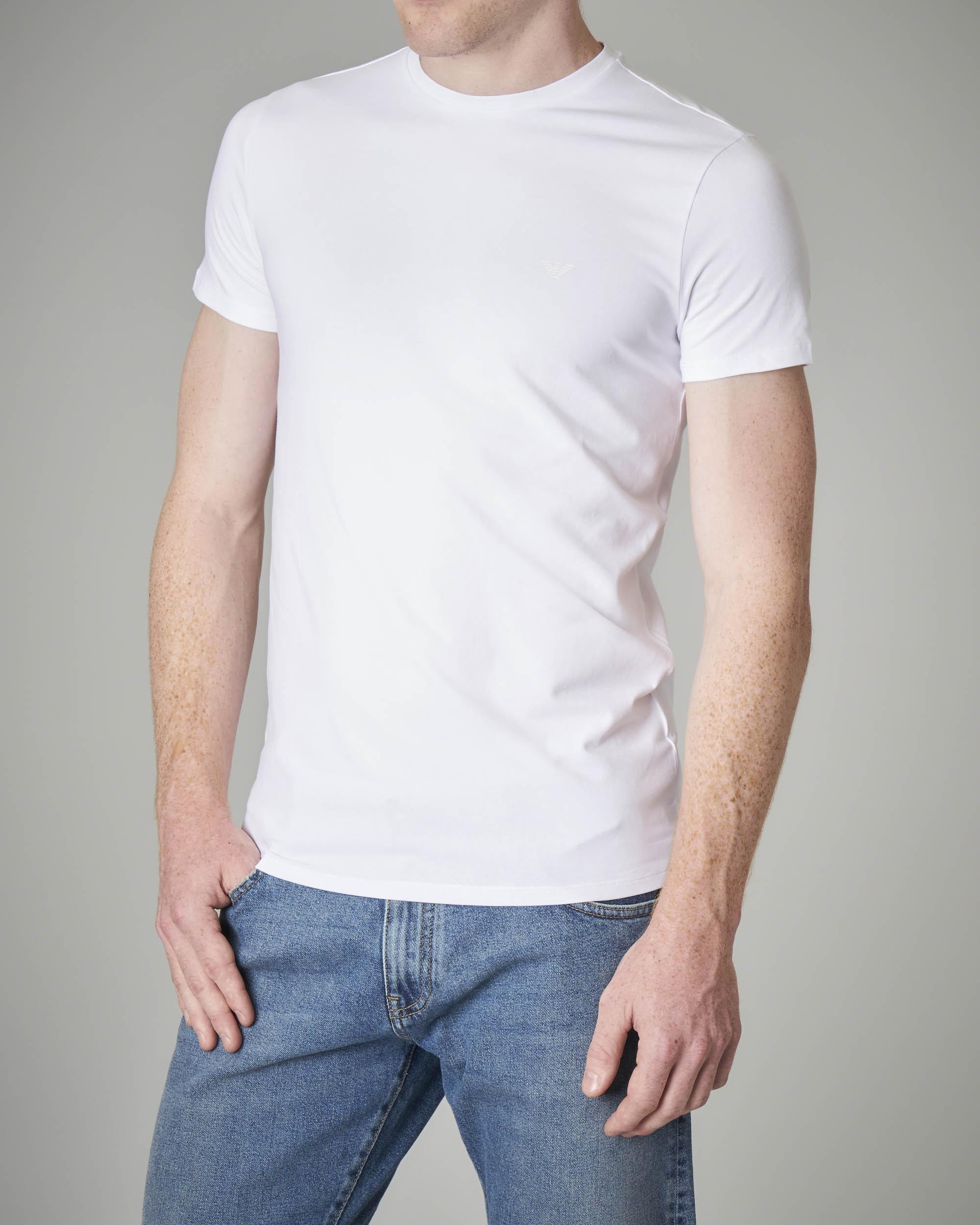 T-shirt bianca in cotone stretch