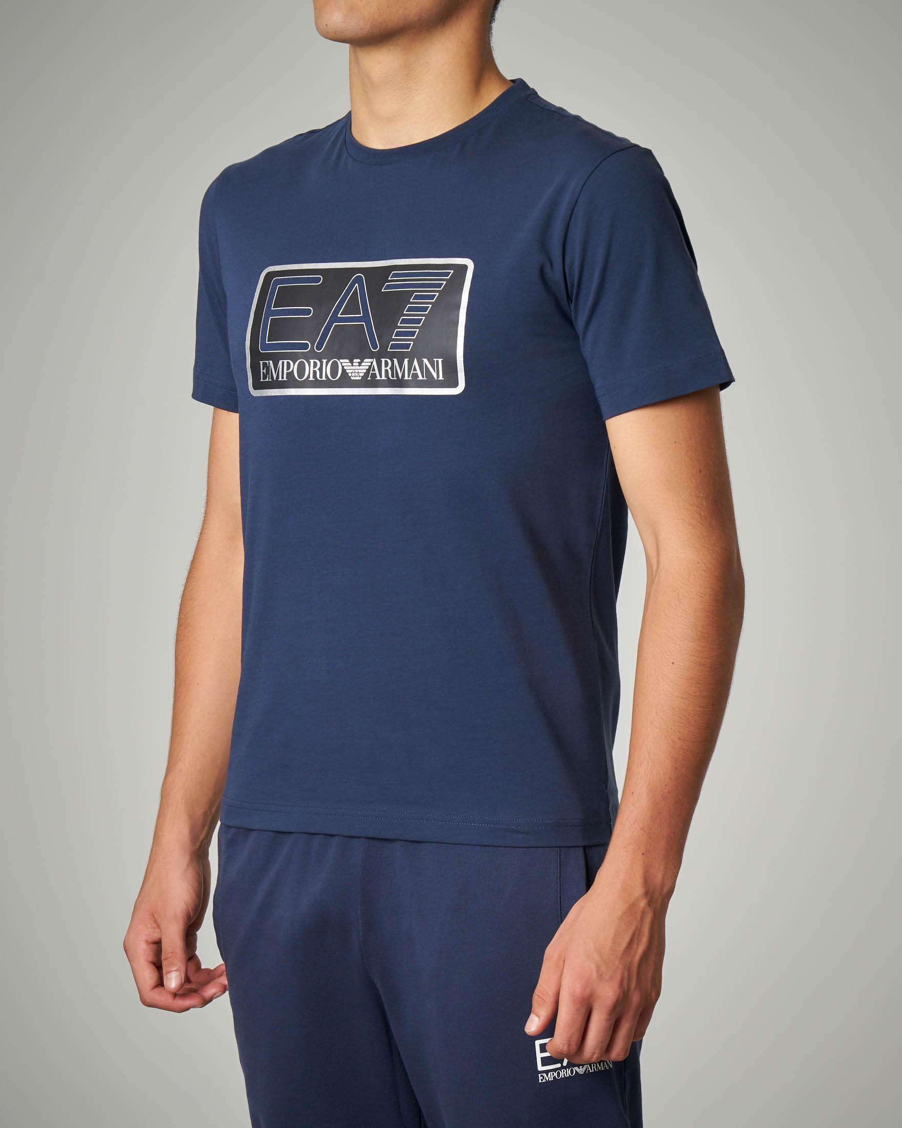 T-shirt blu in jersey con logo