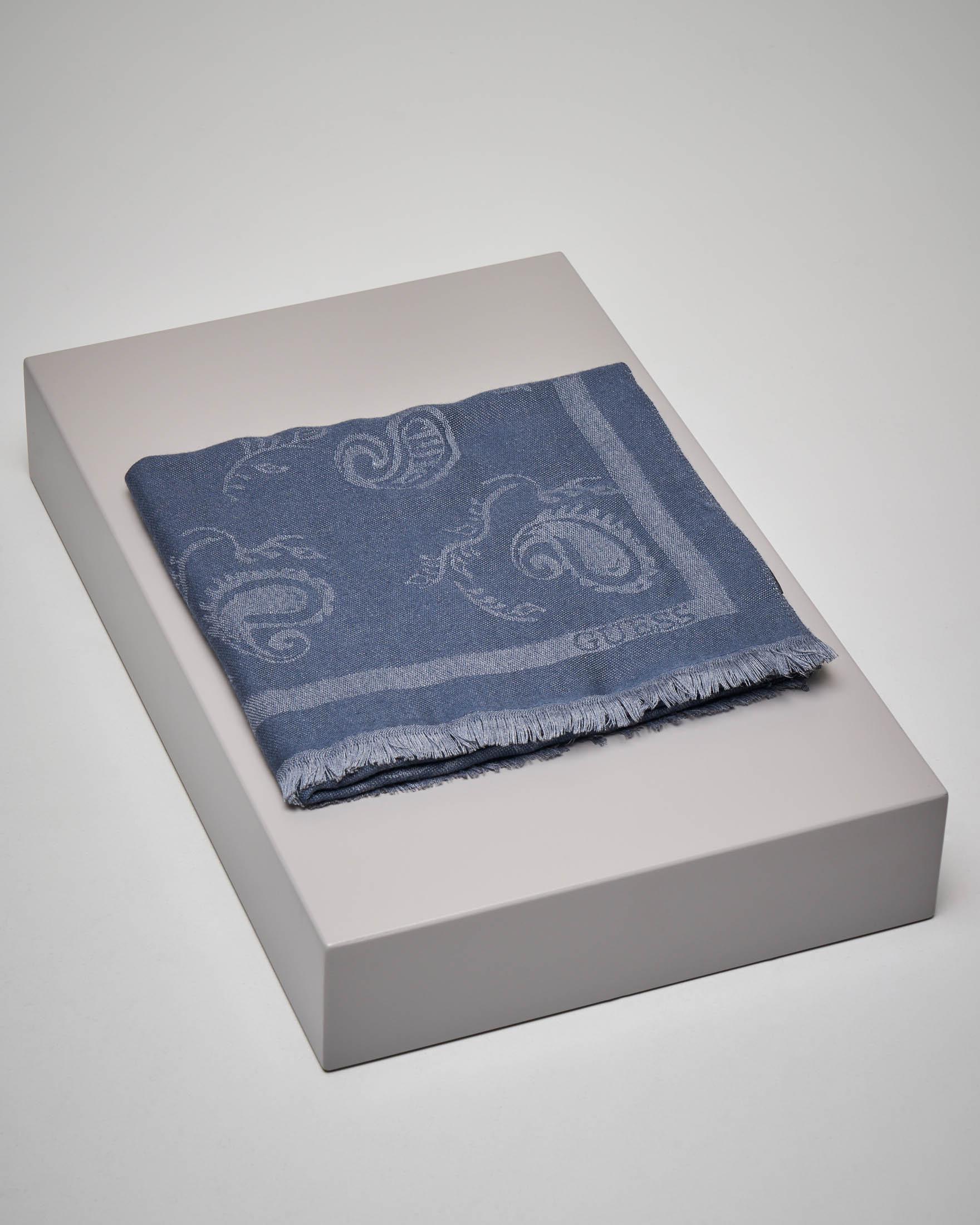 Sciarpa blu logata