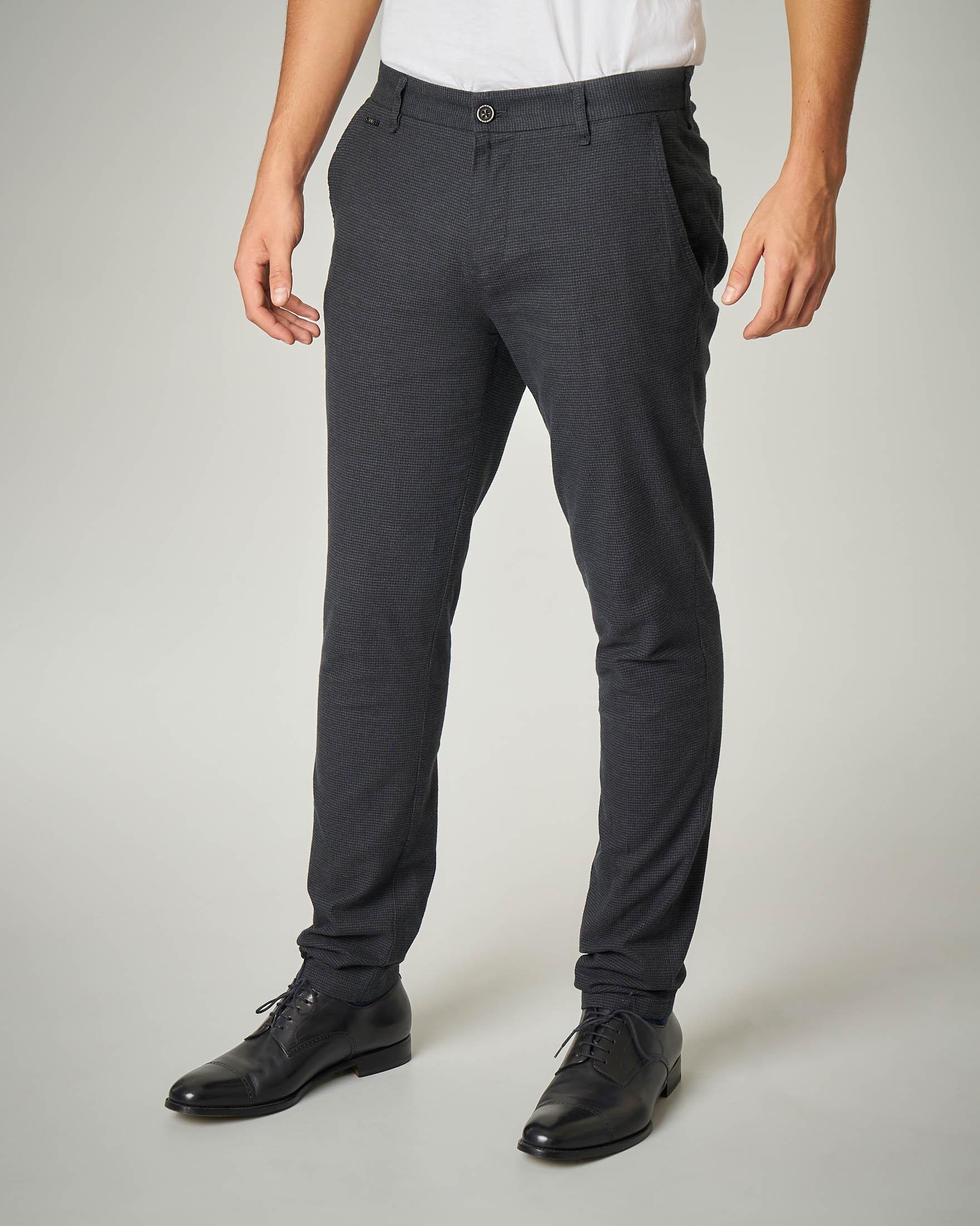Pantalone grigio scuro micro pied de poule