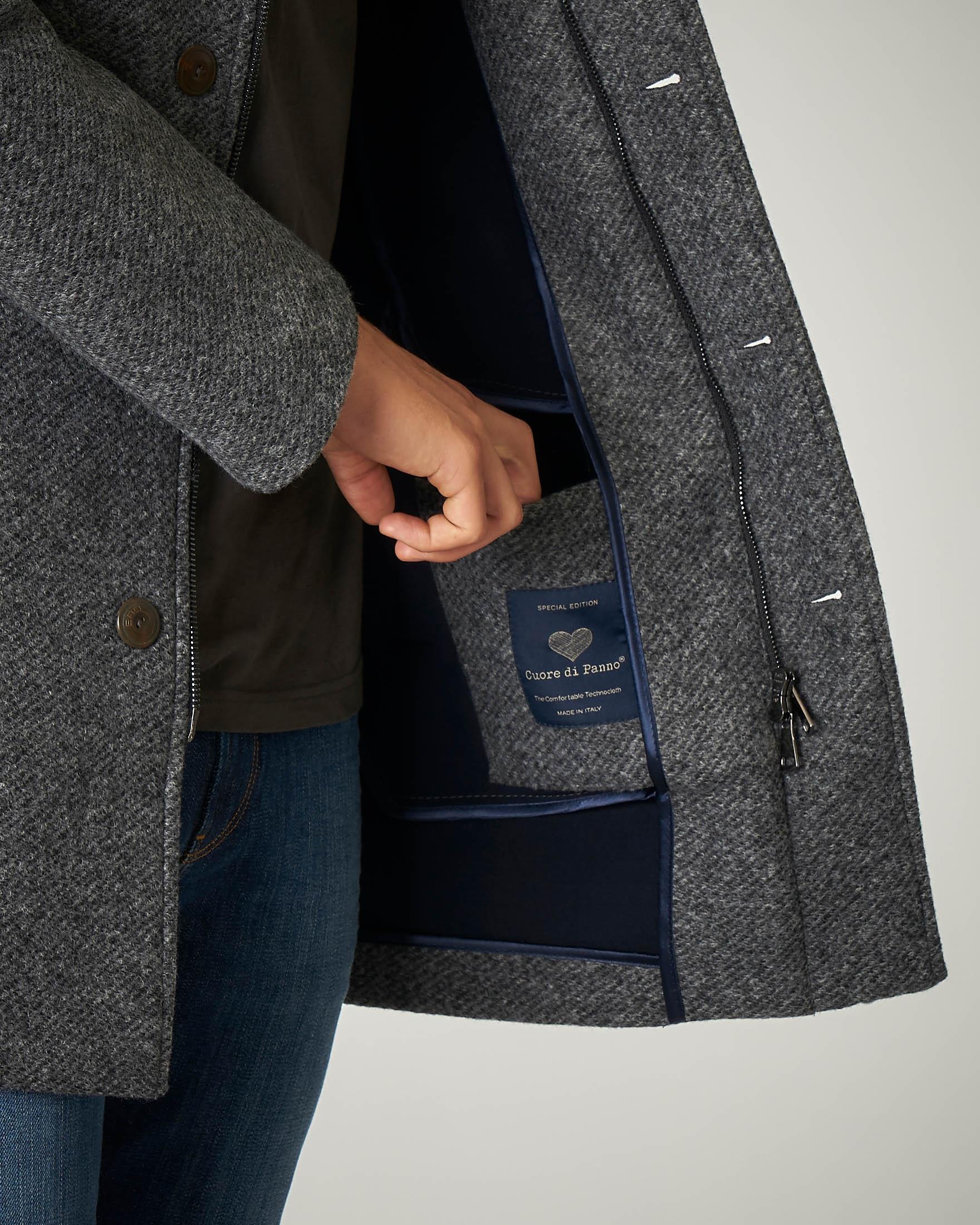 Parka grigio in panno con cappuccio