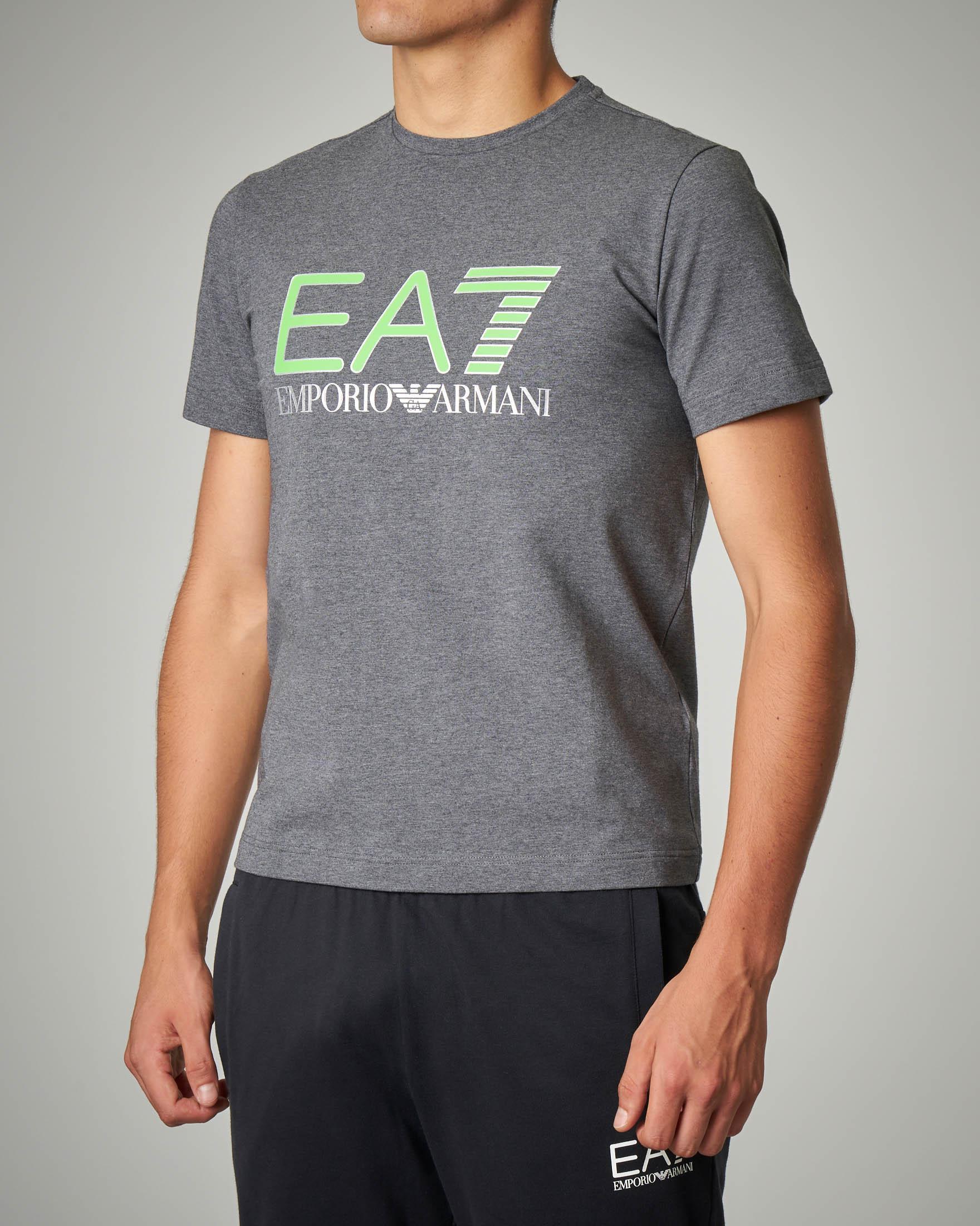 T-shirt grigia stretch logo fluo