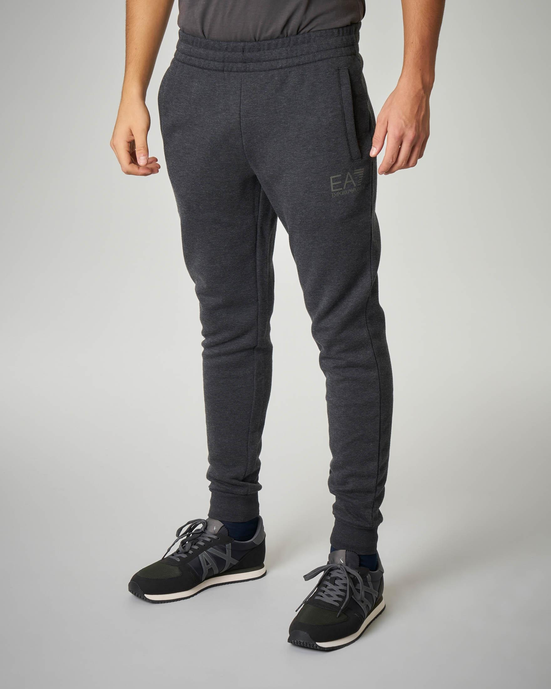 Pantalone grigio scuro melange in felpa leggera