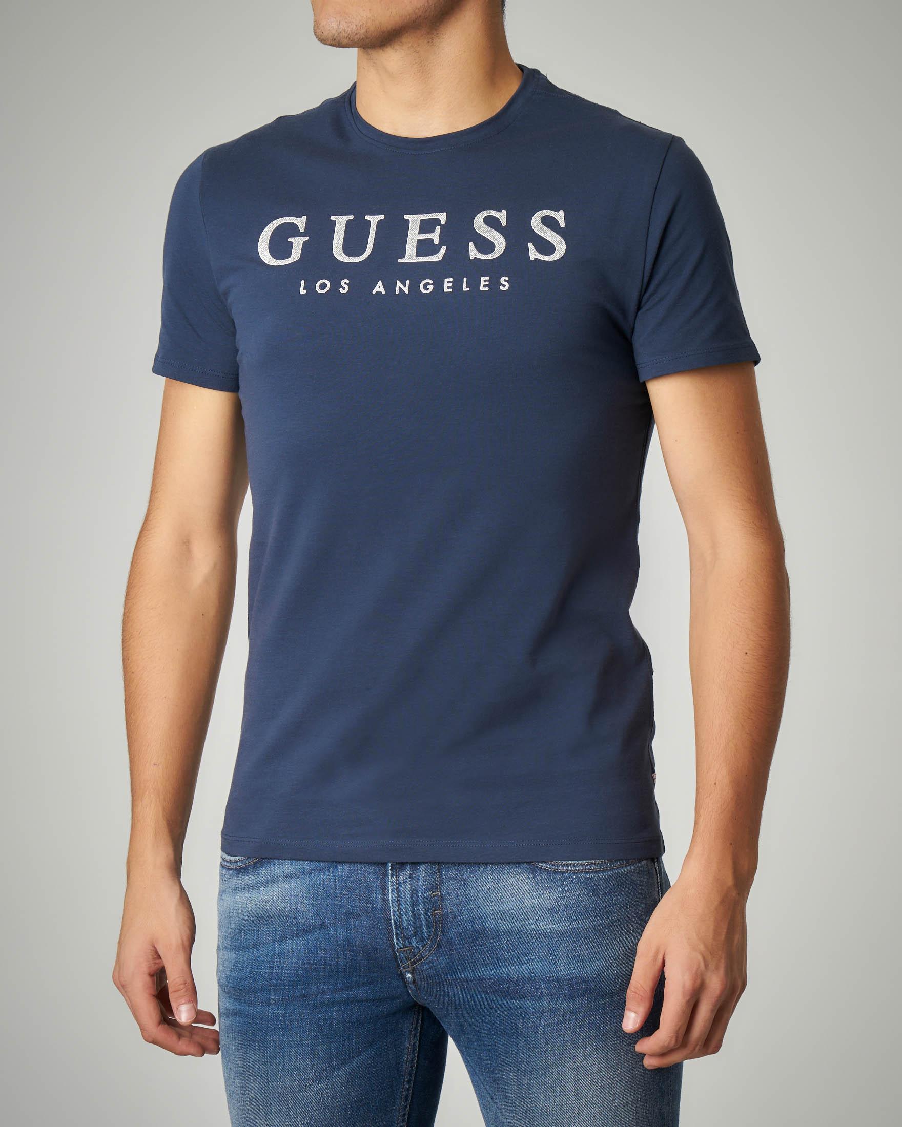 T-shirt blu con logo effetto denim