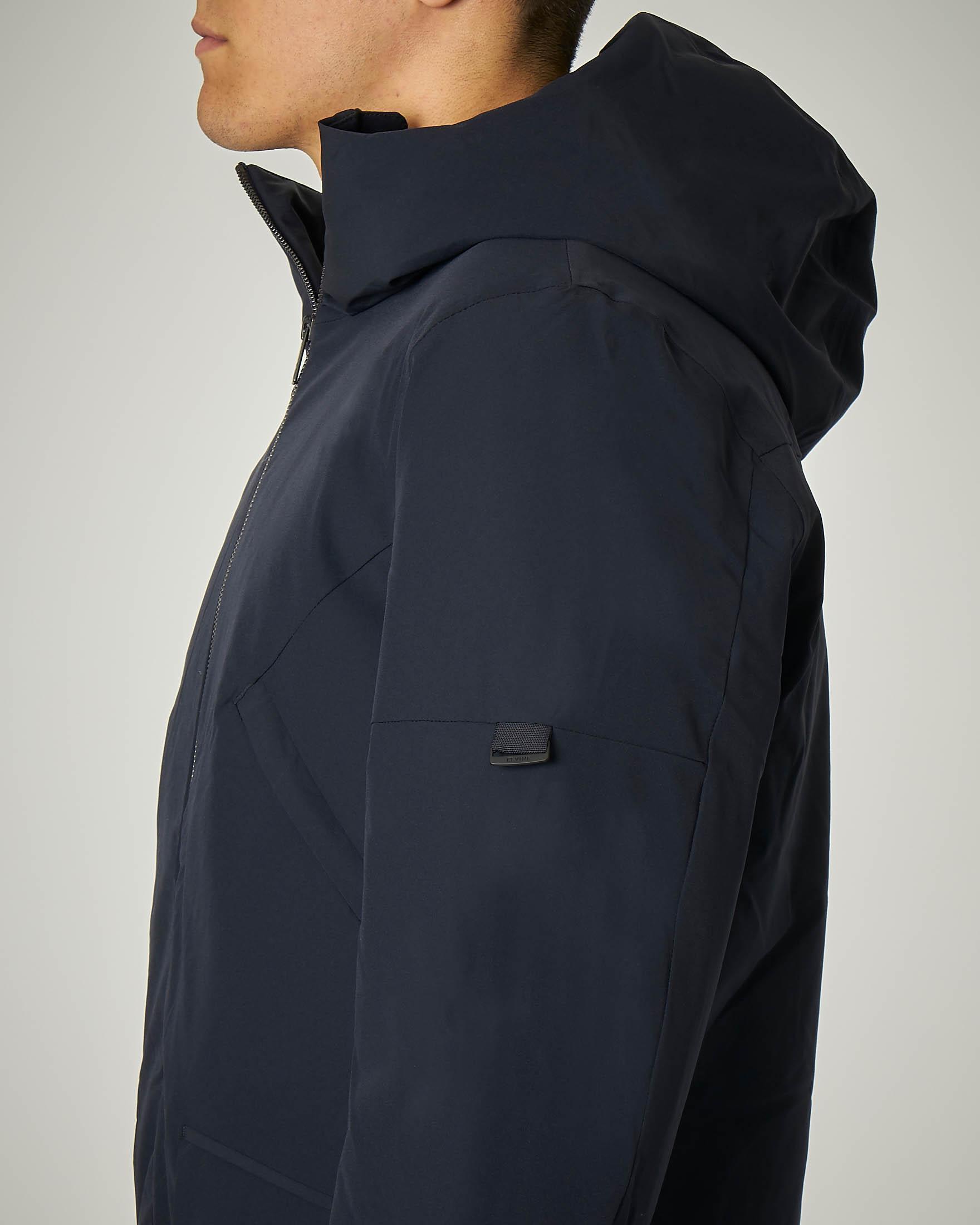 Giacca blu con cappuccio