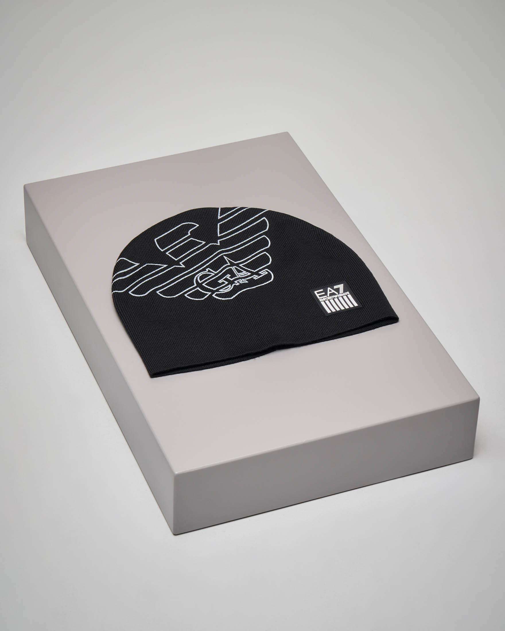 Berretto nero con maxi-logo aquila