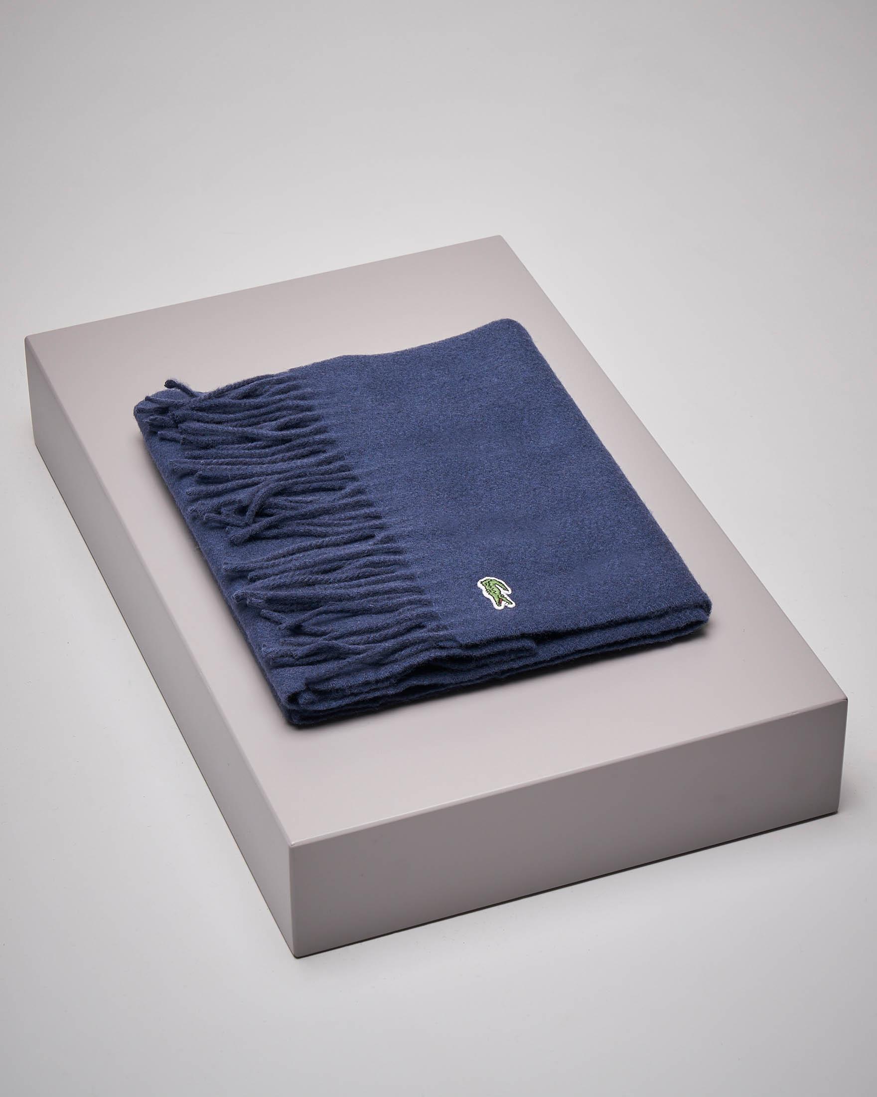 Sciarpa blu in lana e cachemire