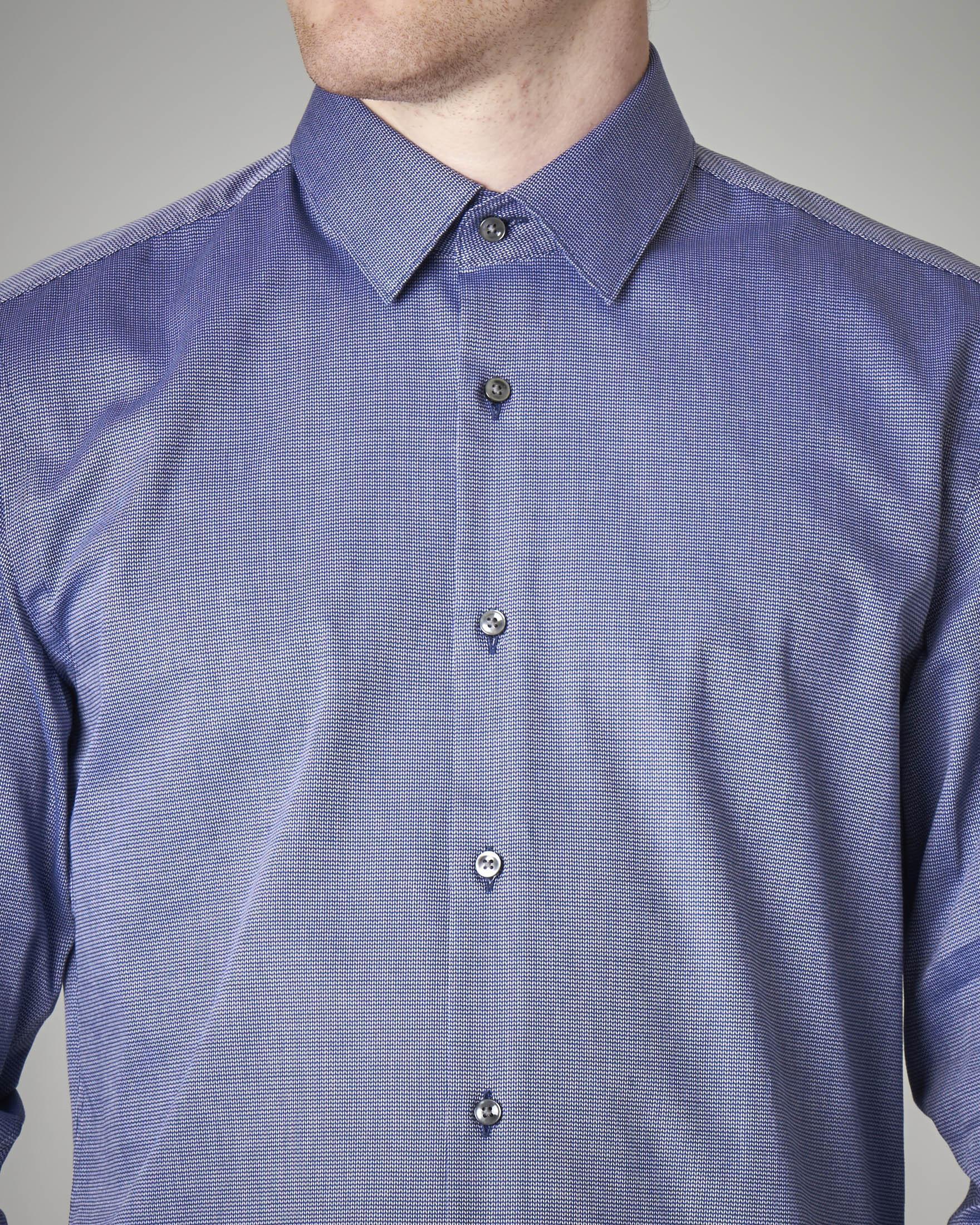 Camicia blu stretch microfantasia