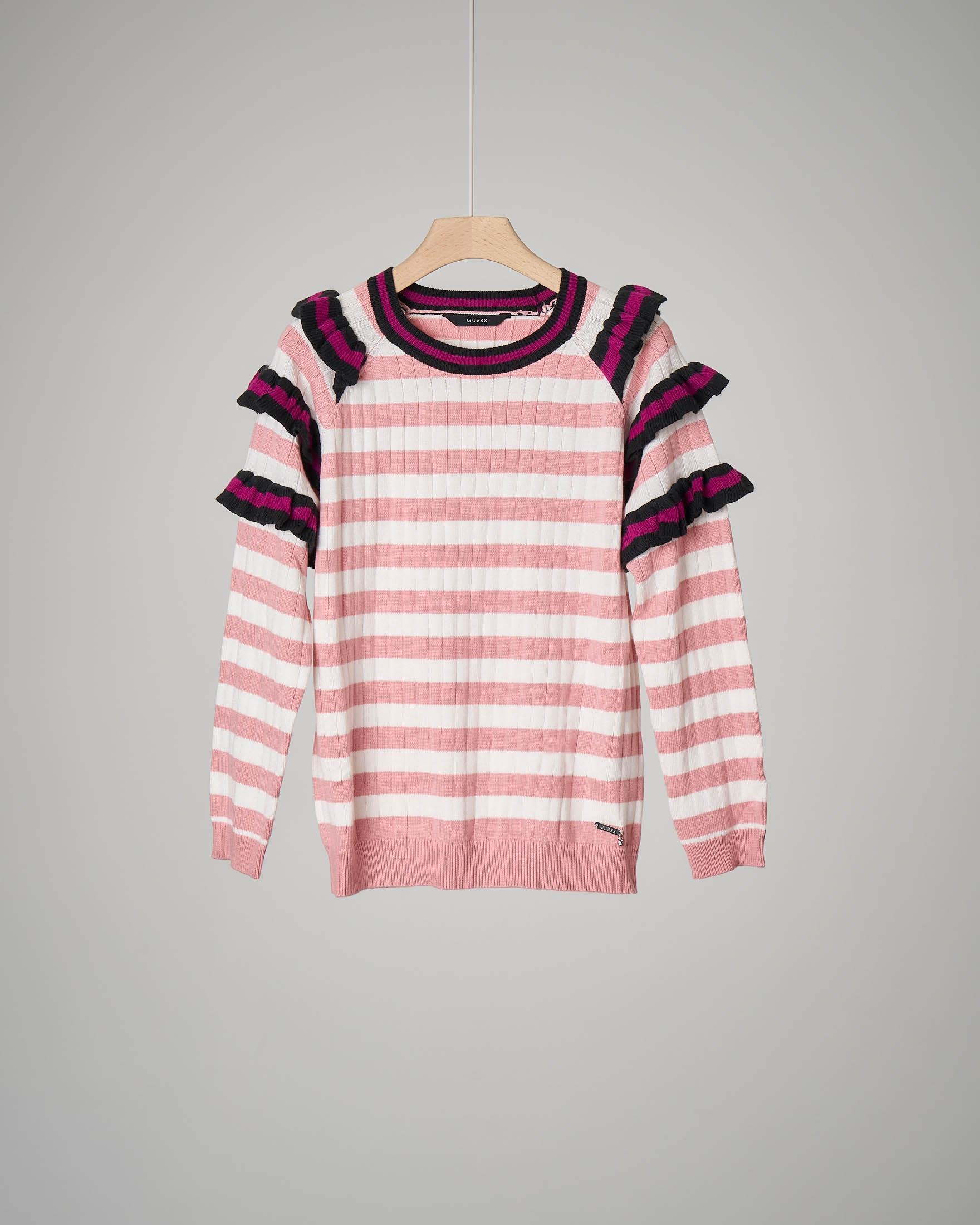 Maglia rosa/bianca righe