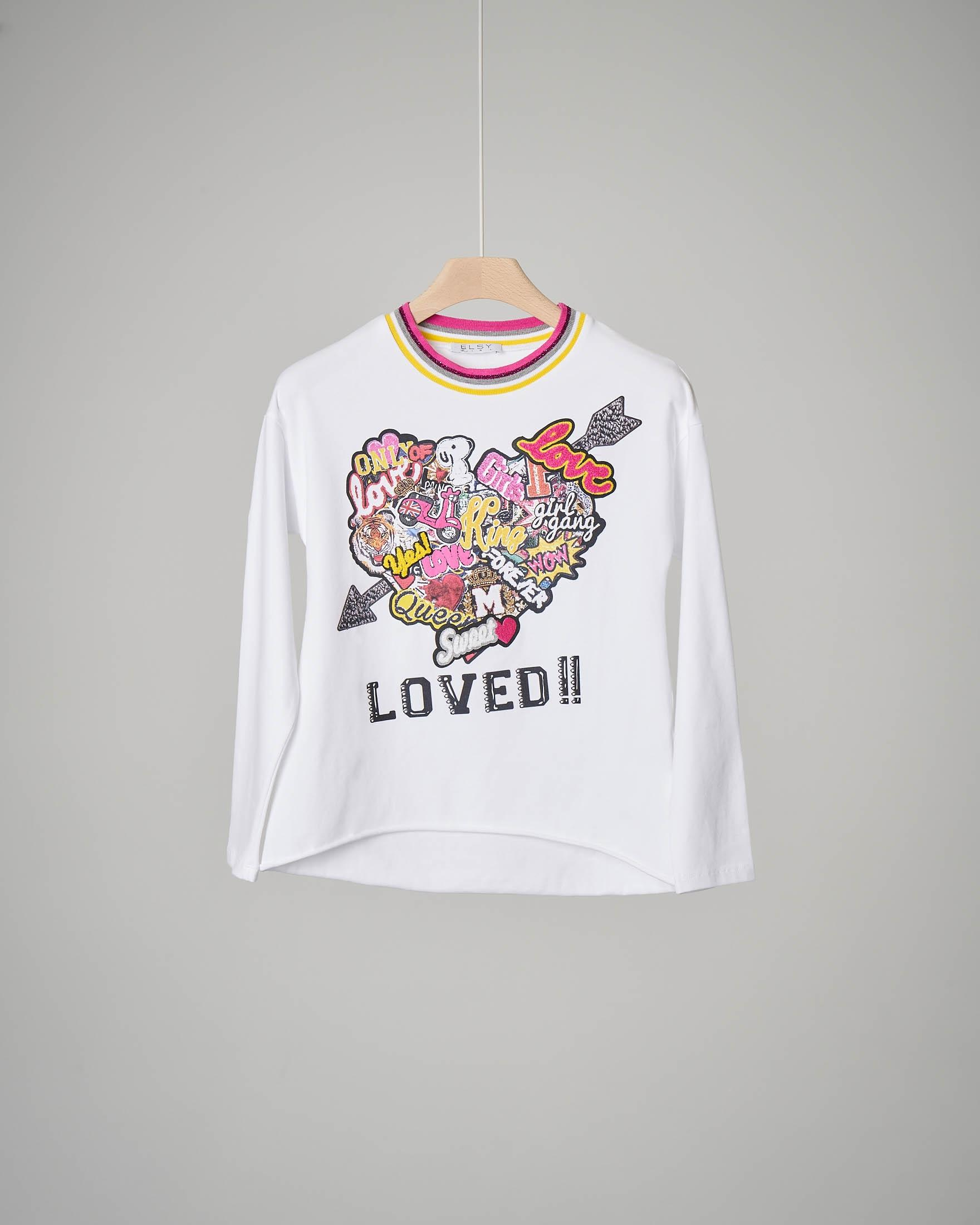 T-shirt bianca cuore patch