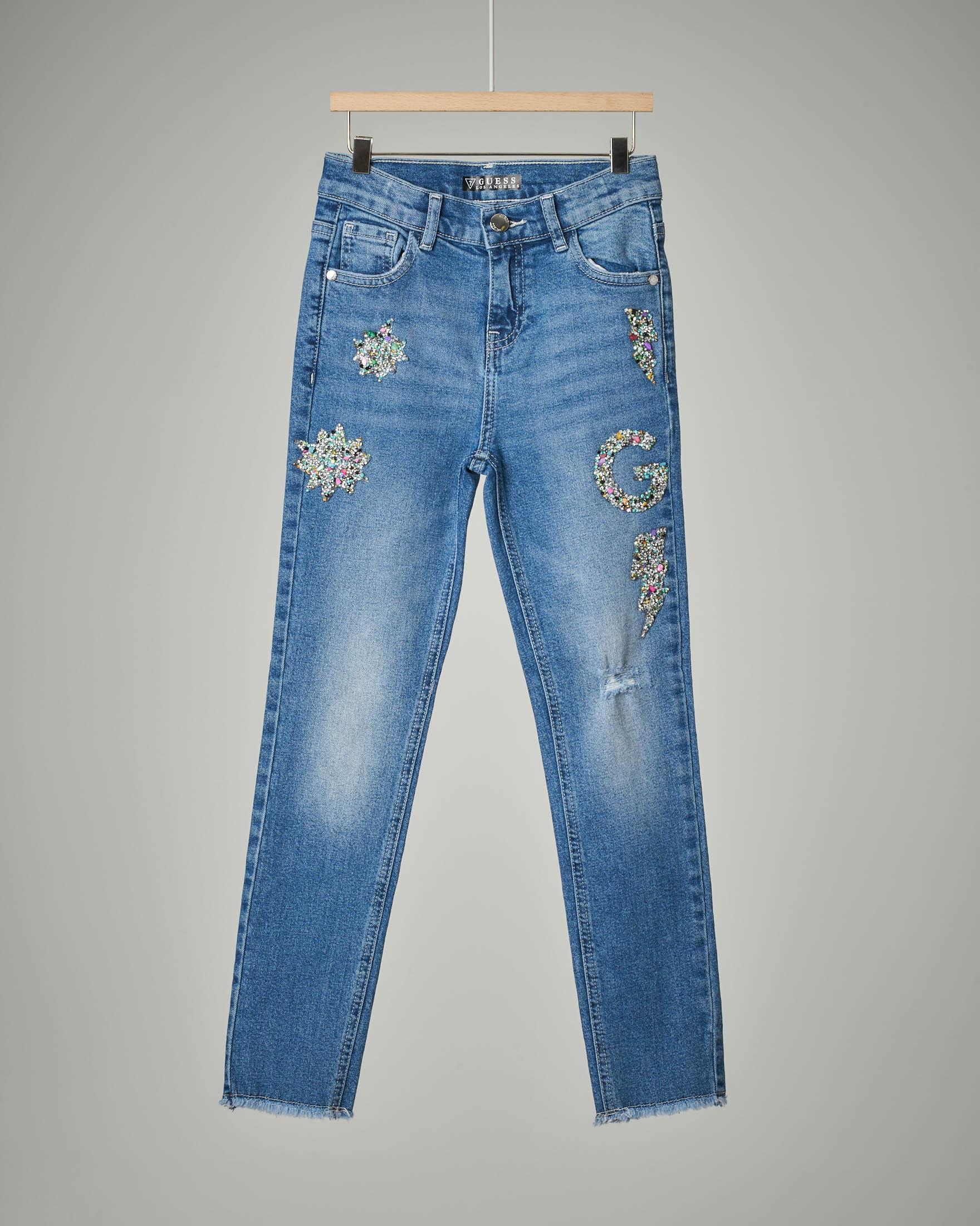 Jeans ricamo + pietre