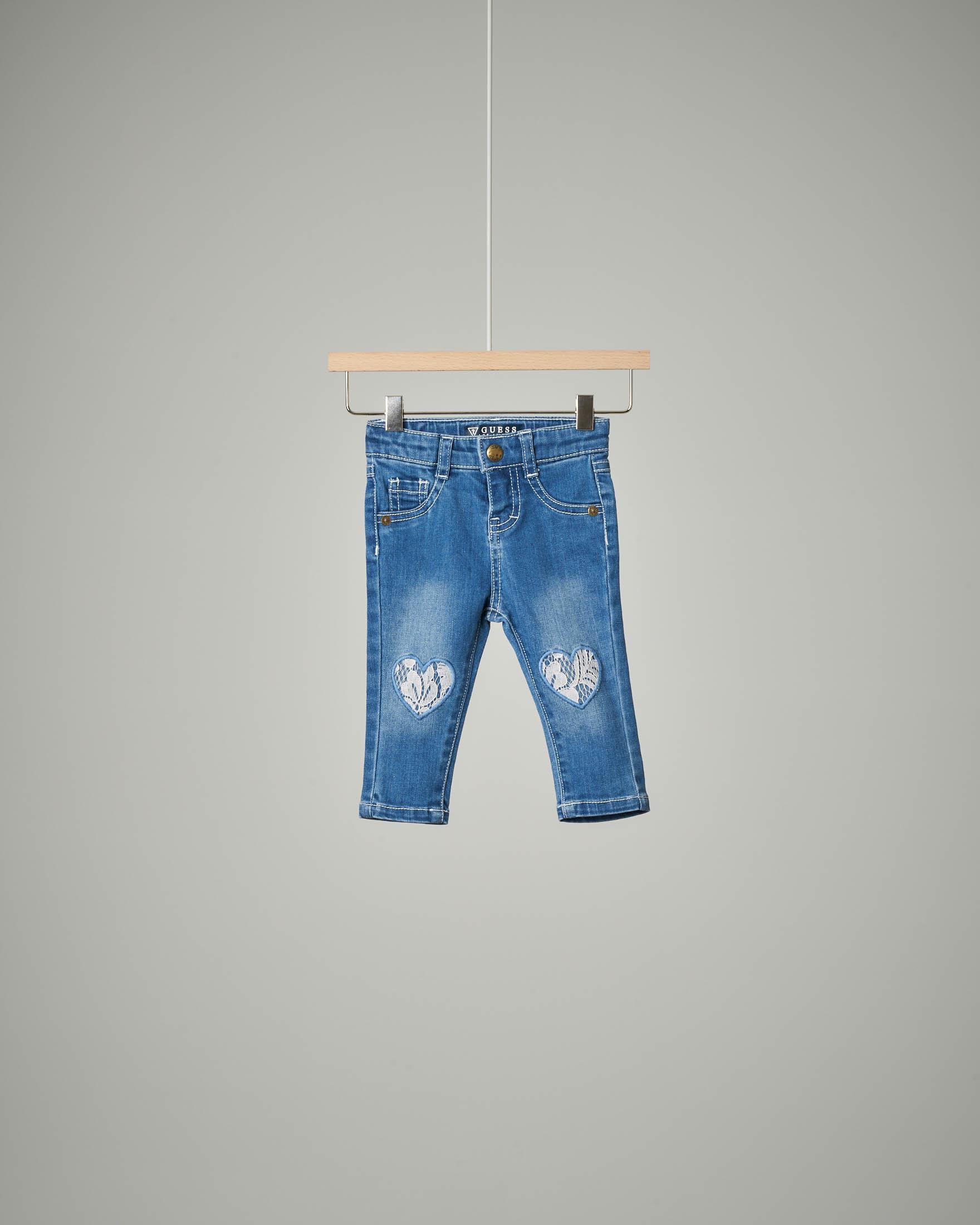Jeans toppe cuore pizzo