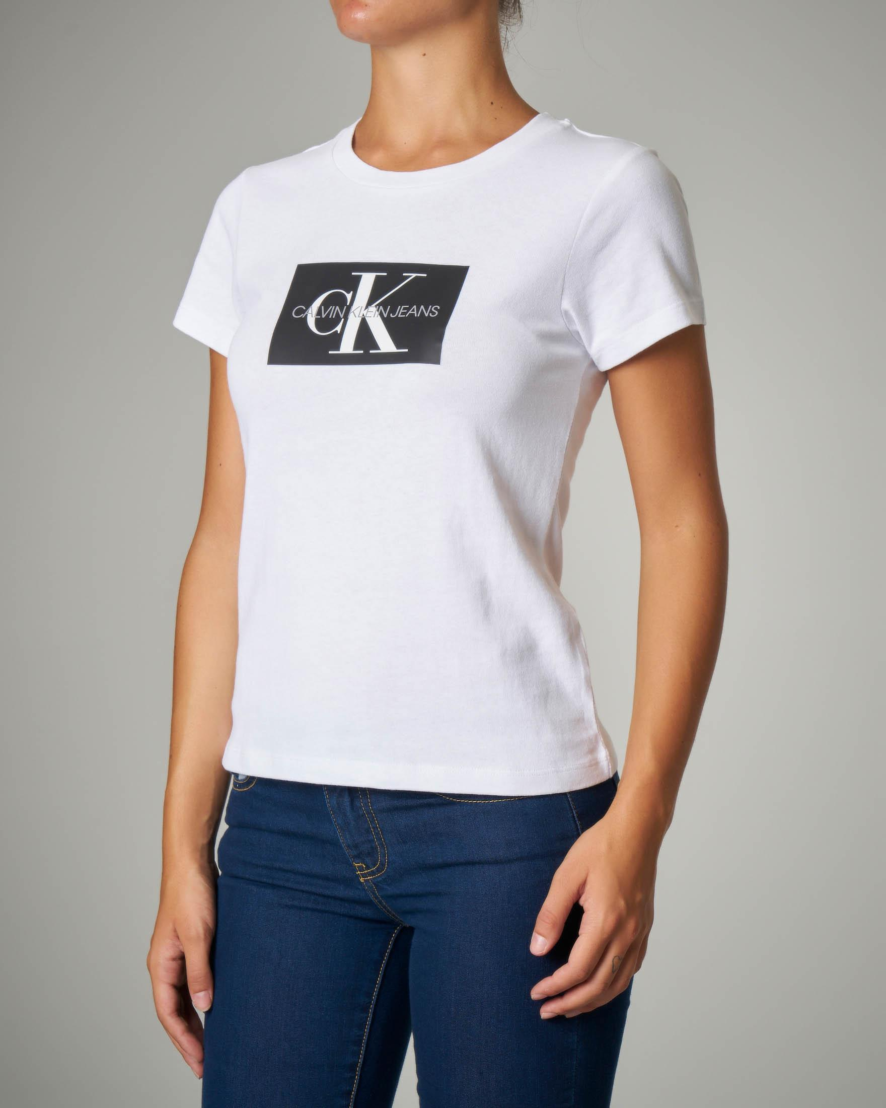 T-shirt bianca in cotone con logo