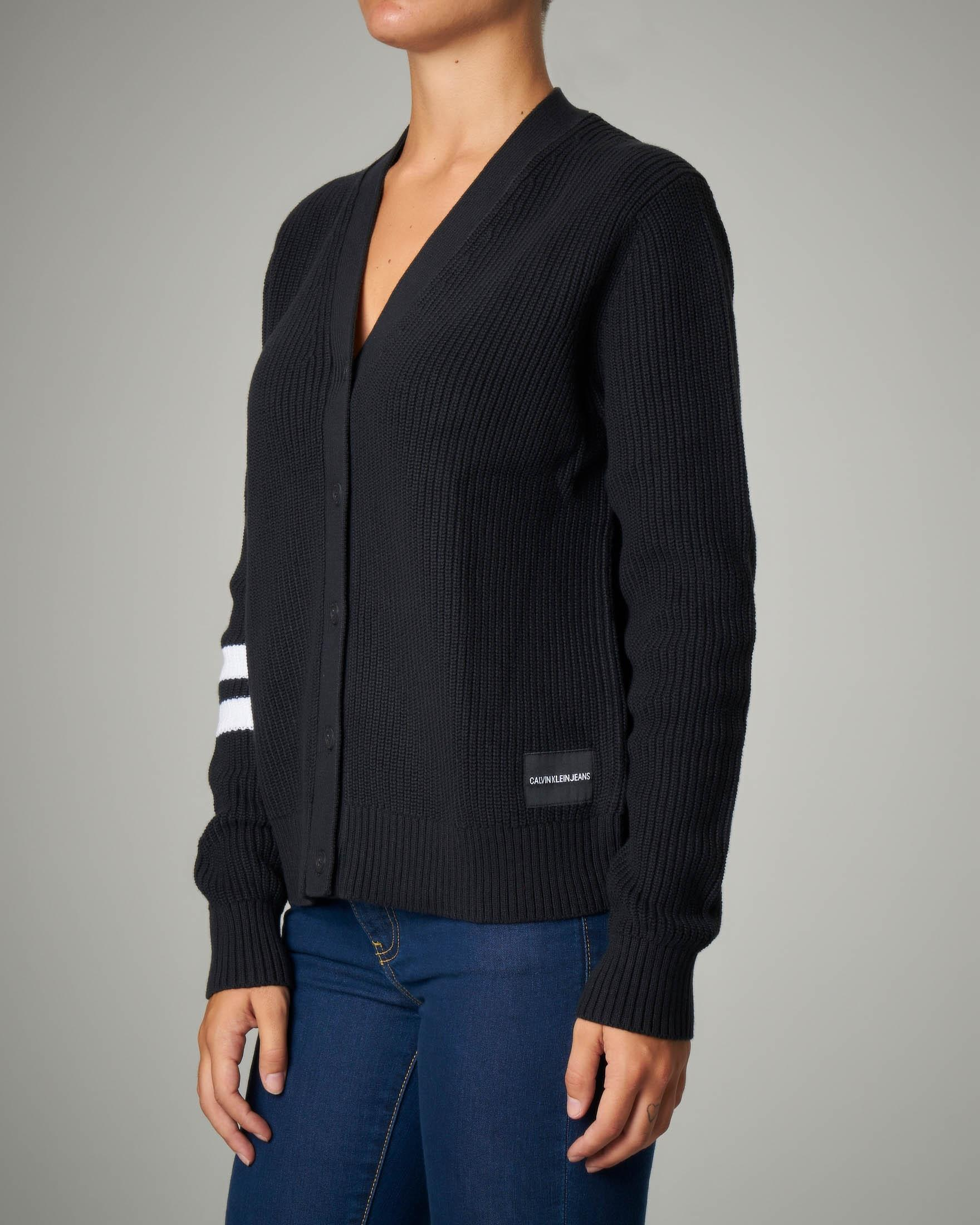 Cardigan nero in maglia a coste di cotone