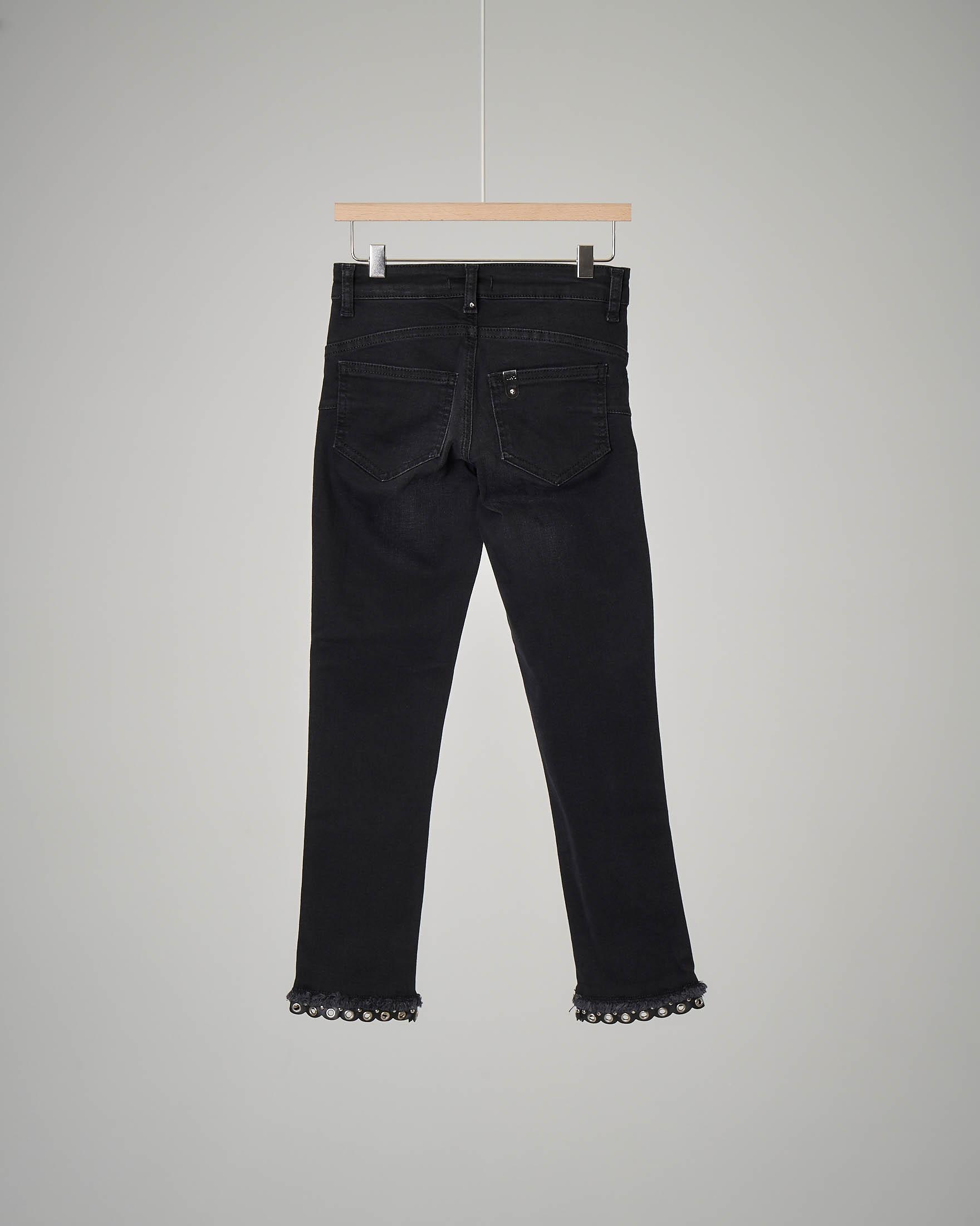 Pantalone jeans nero fondo anelli 8-16 anni