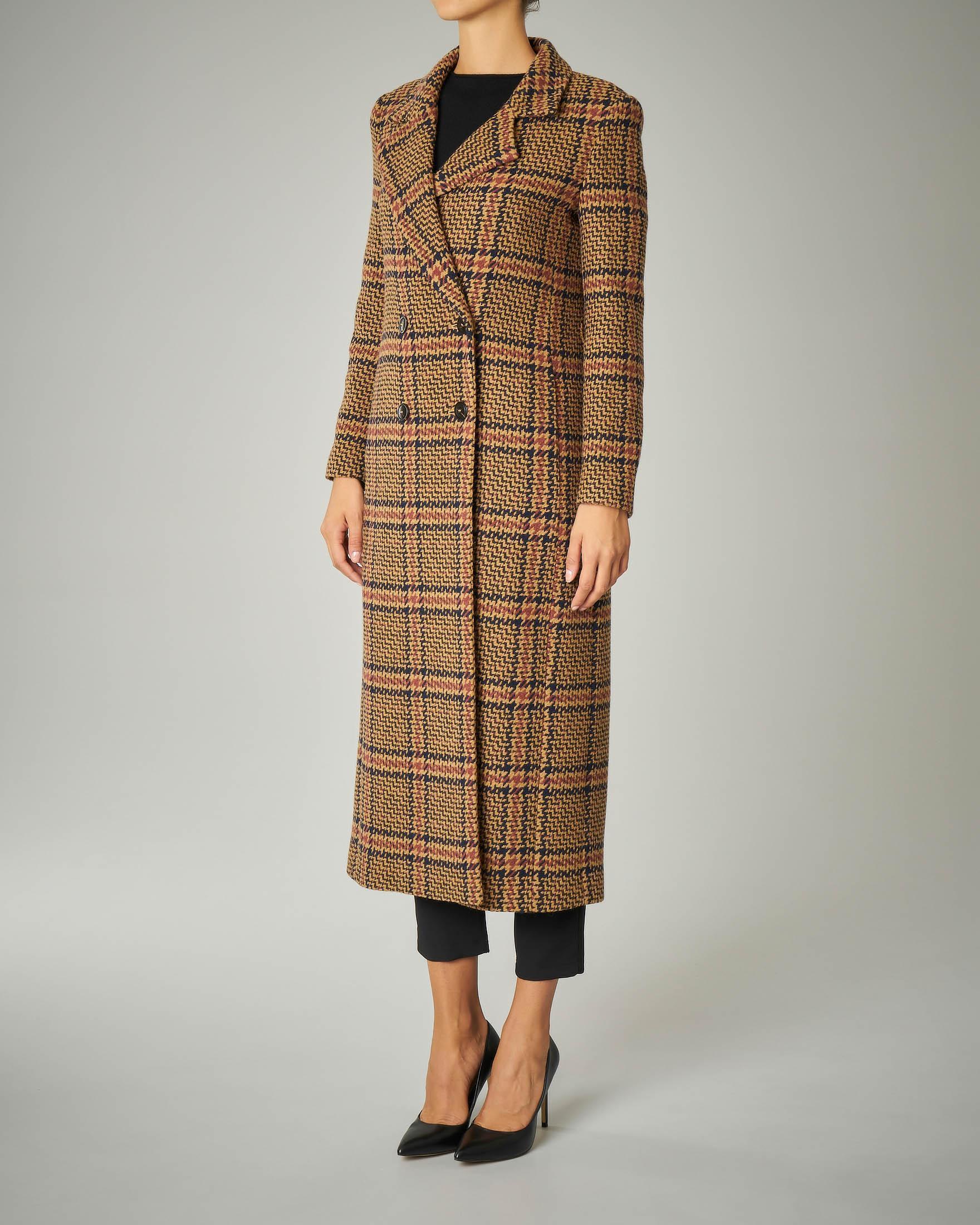 Cappotto lungo in misto lana fantasia check doppiopetto