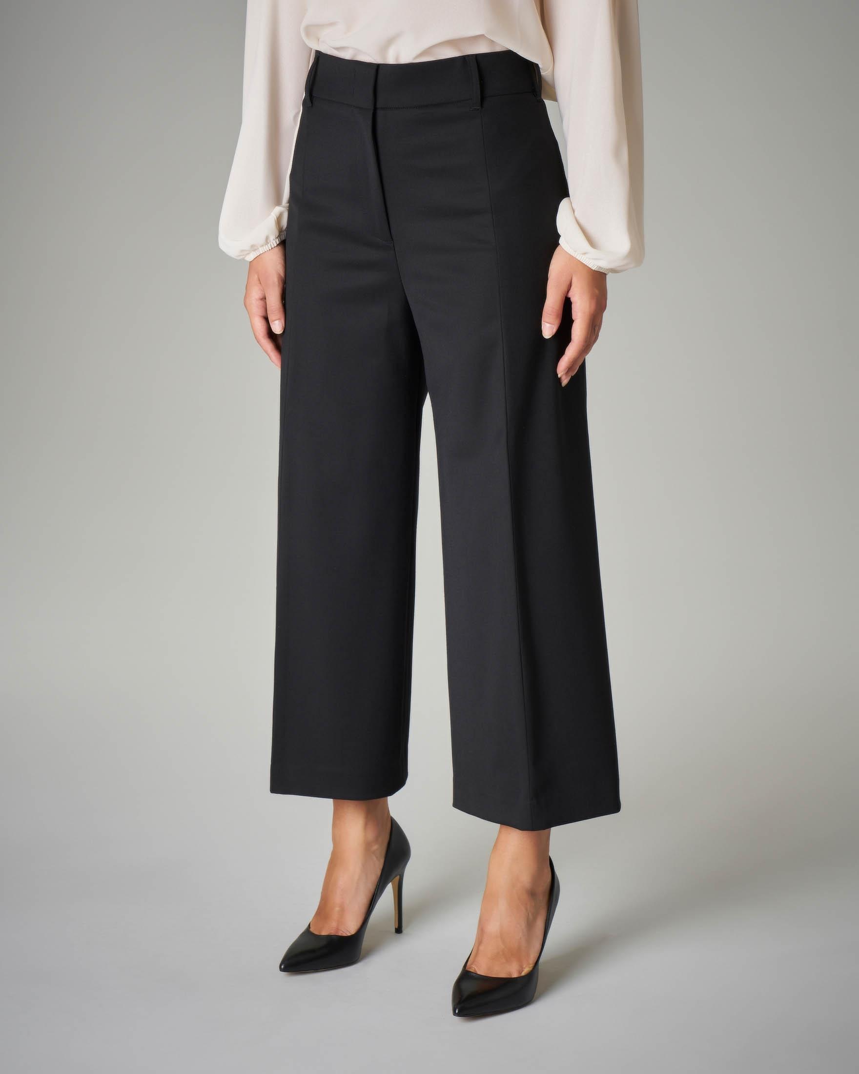 Pantalone palazzo nero crop in fresco di lana