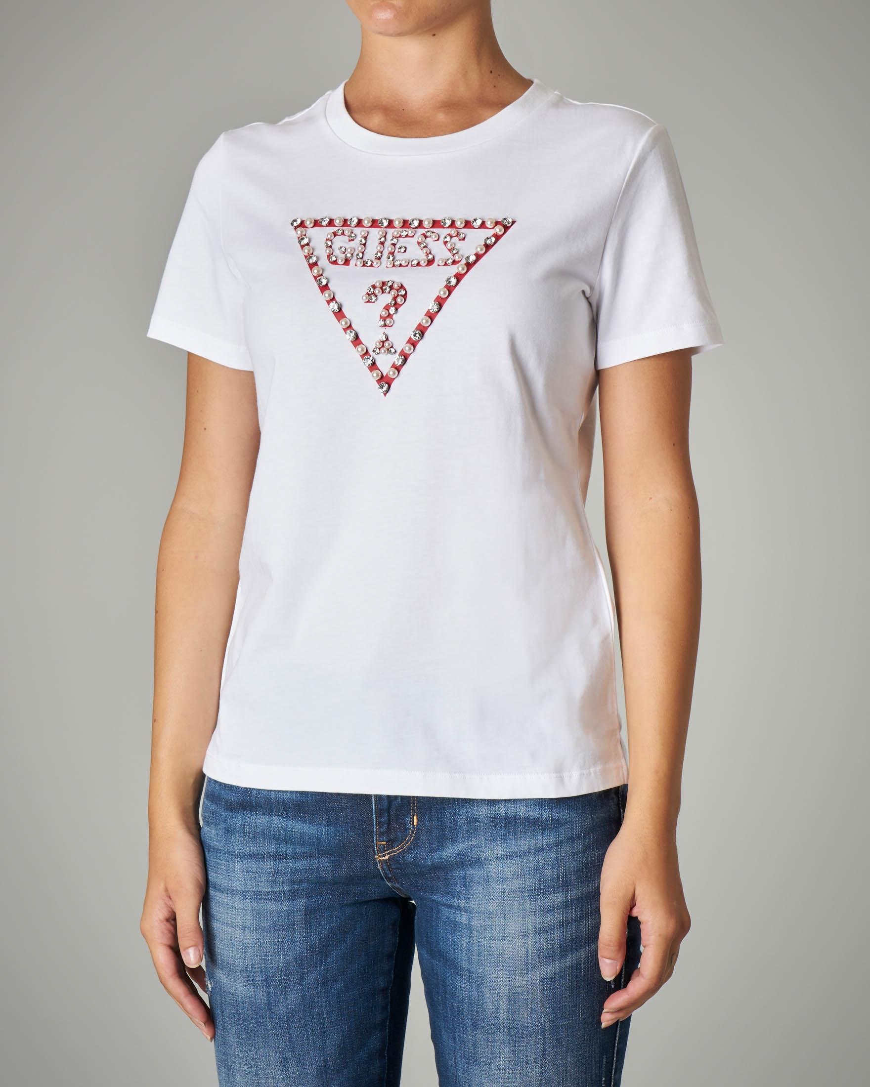 T-shirt bianca giroocollo con logo ricamato