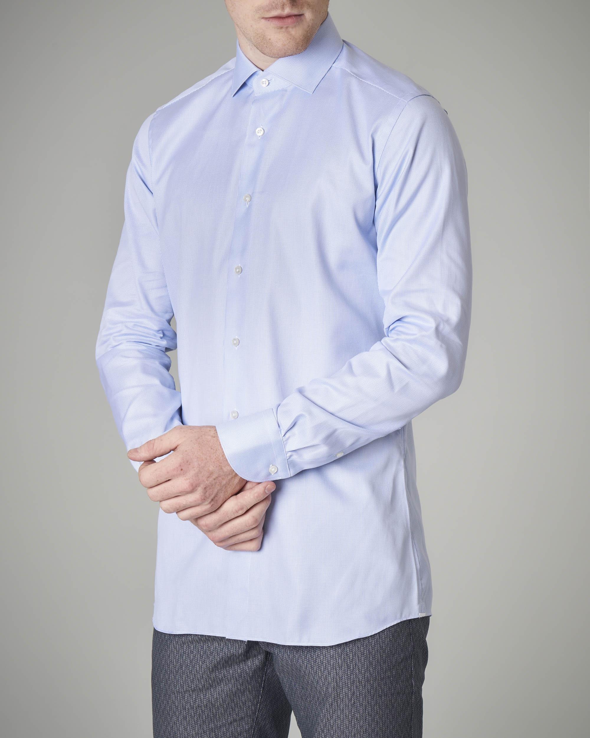 Camicia azzurra micro-fantasia