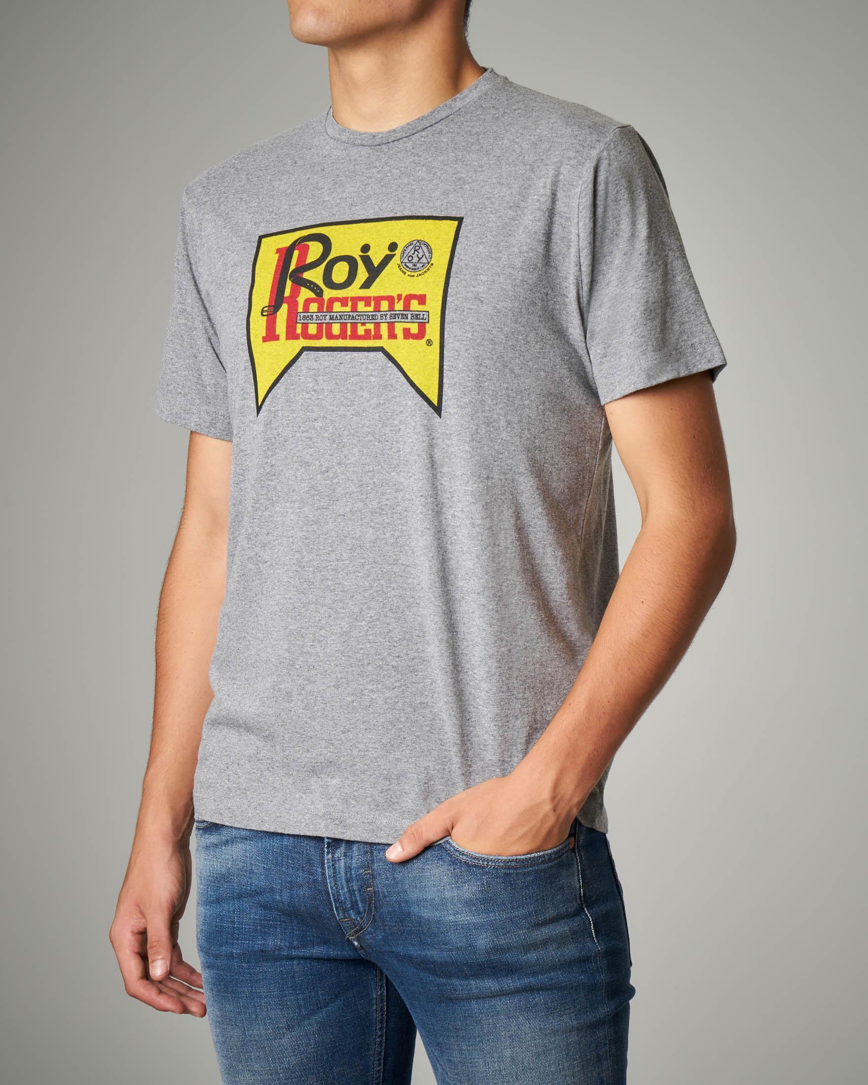 T-shirt grigia con logo vintage