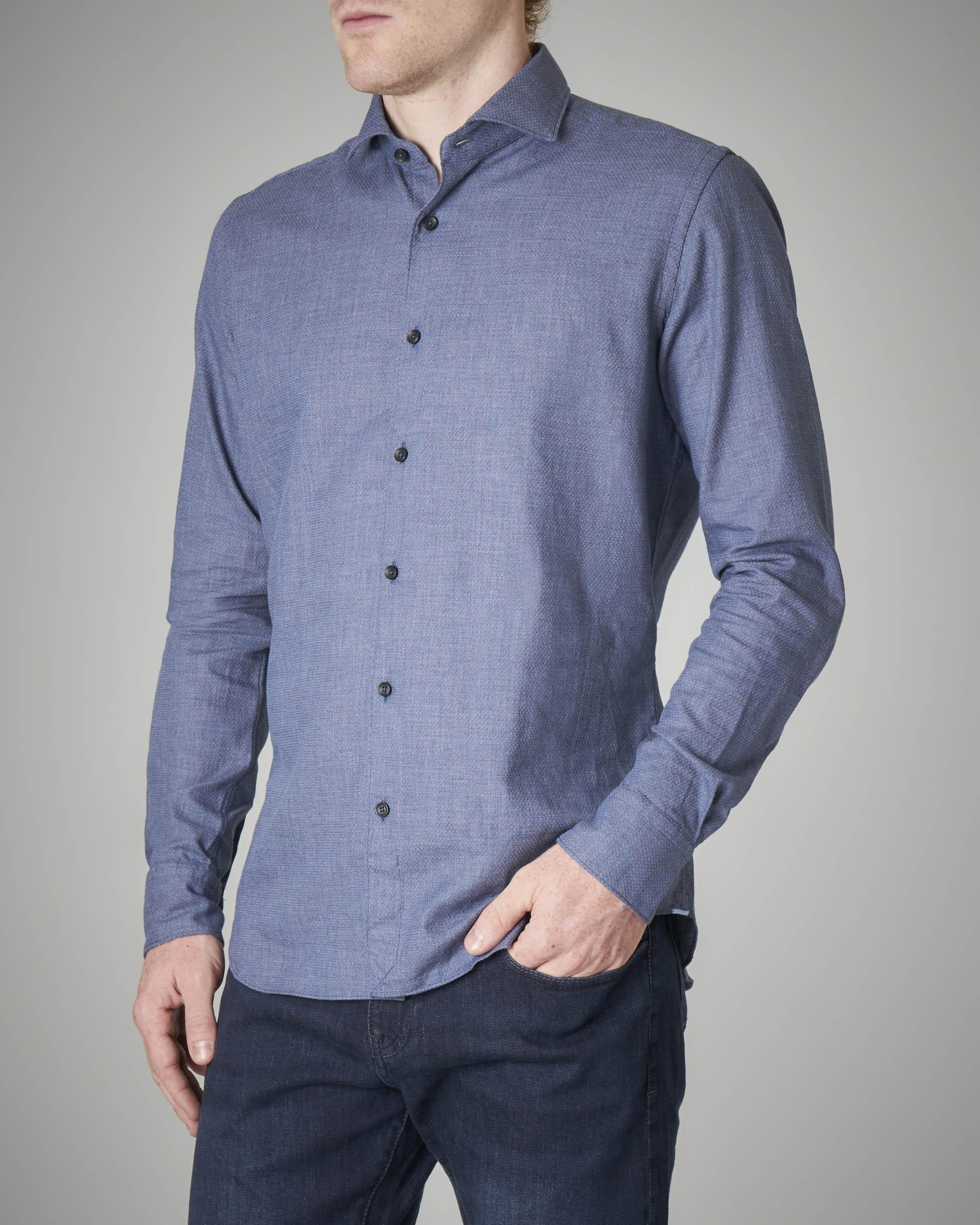 Camicia blu effetto denim