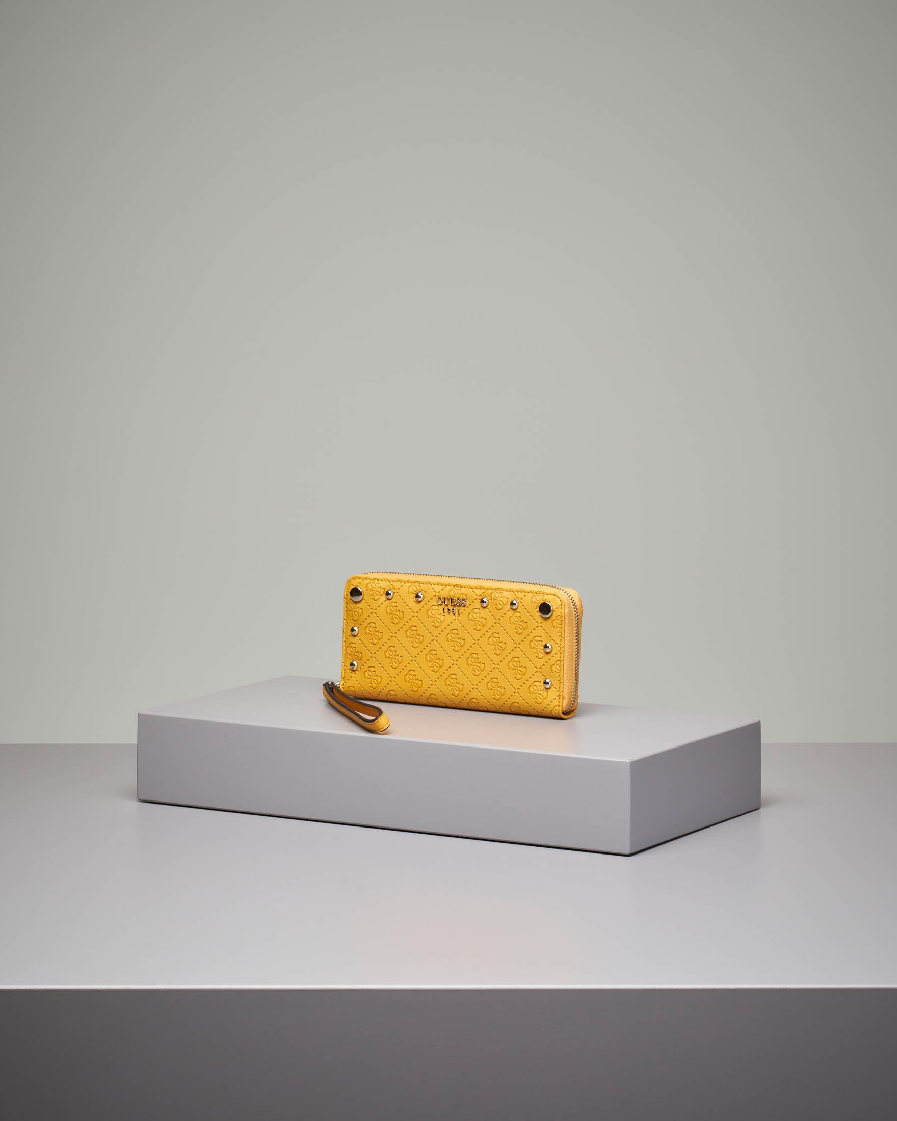 Portafoglio giallo grande con chiusura a cerniera fantasia a logo