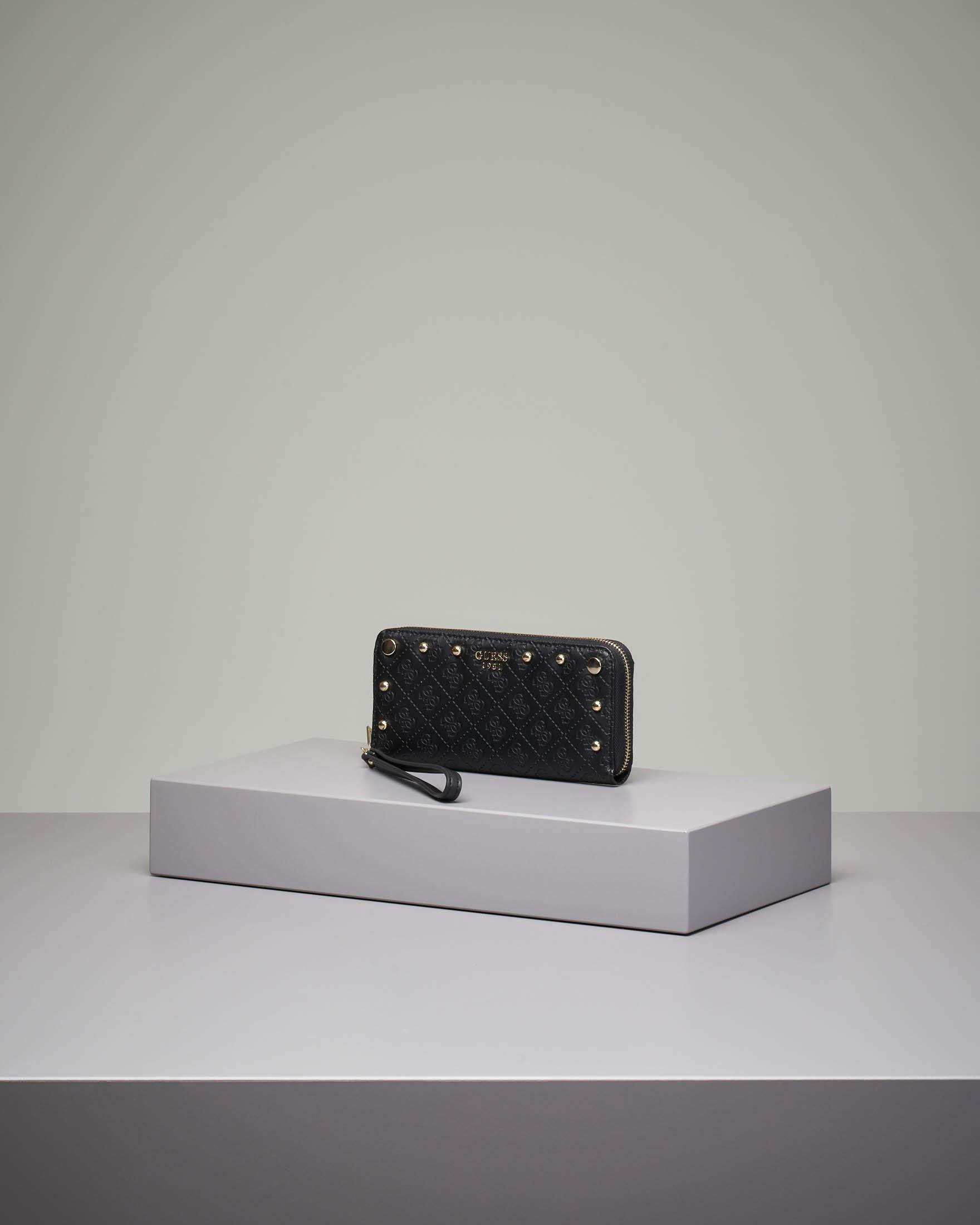 Portafoglio nero grande con chiusura a cerniera fantasia a logo