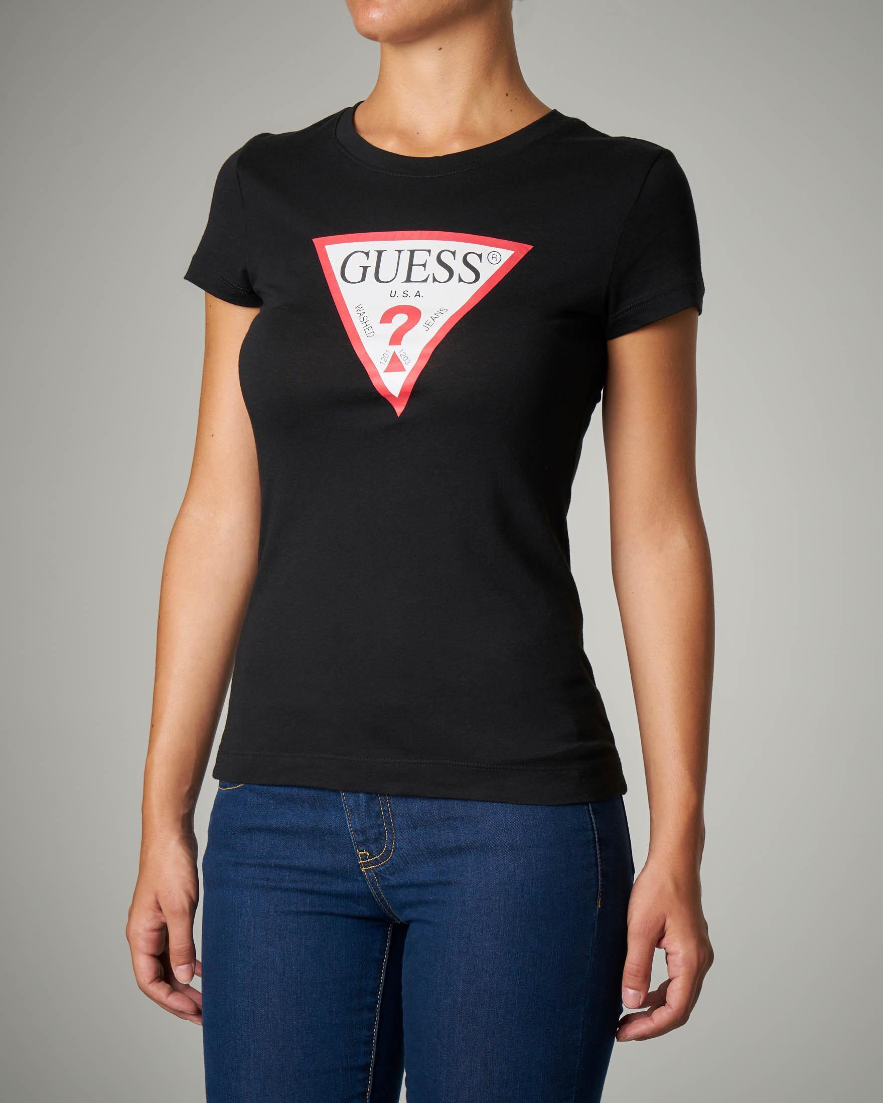559123c463987f T-shirt girocollo nera con stampa logo