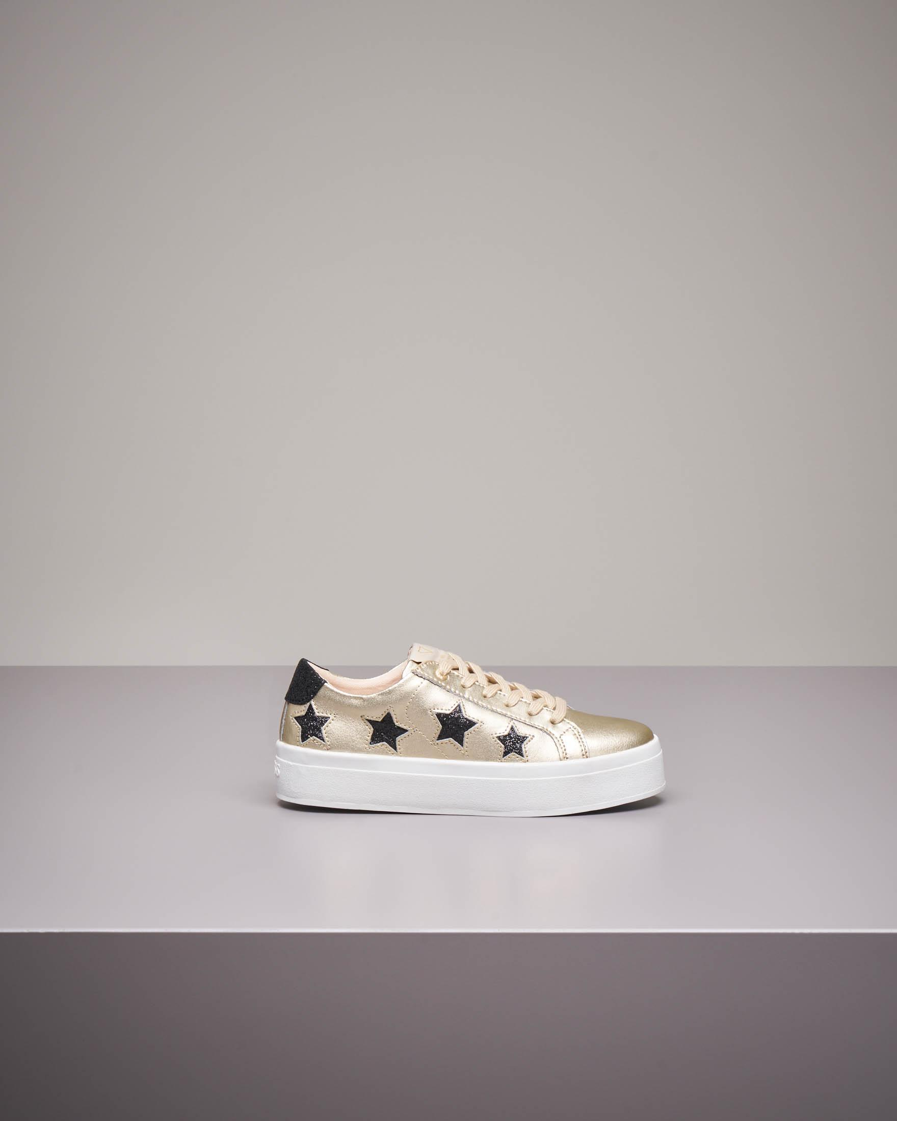 Sneaker oro con ricami glitter