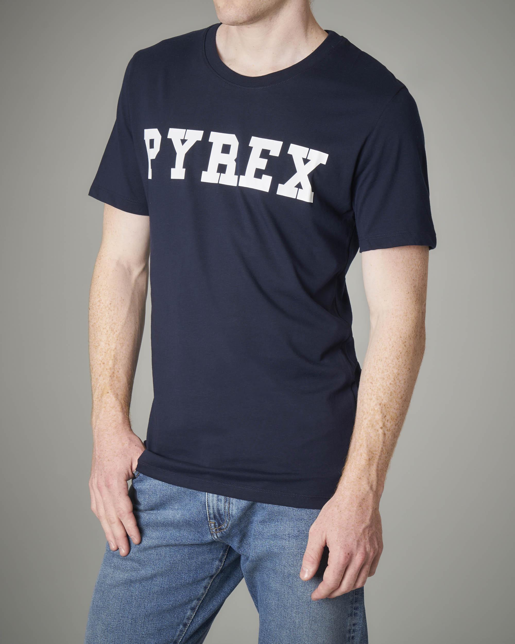 T-shirt blu logata