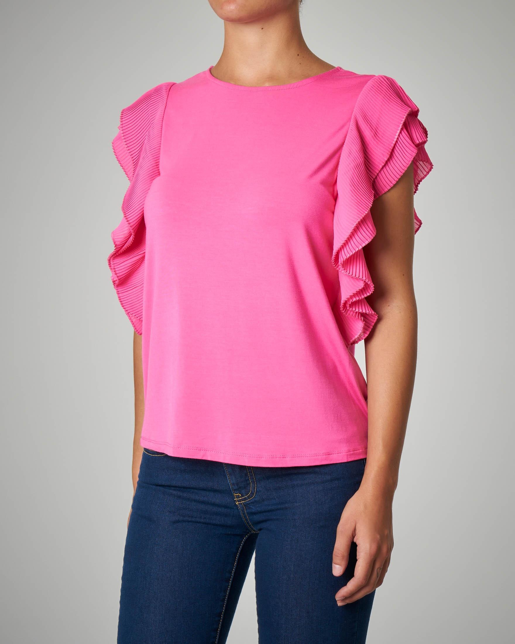 T-shirt in viscosa rosa con maniche ad aletta