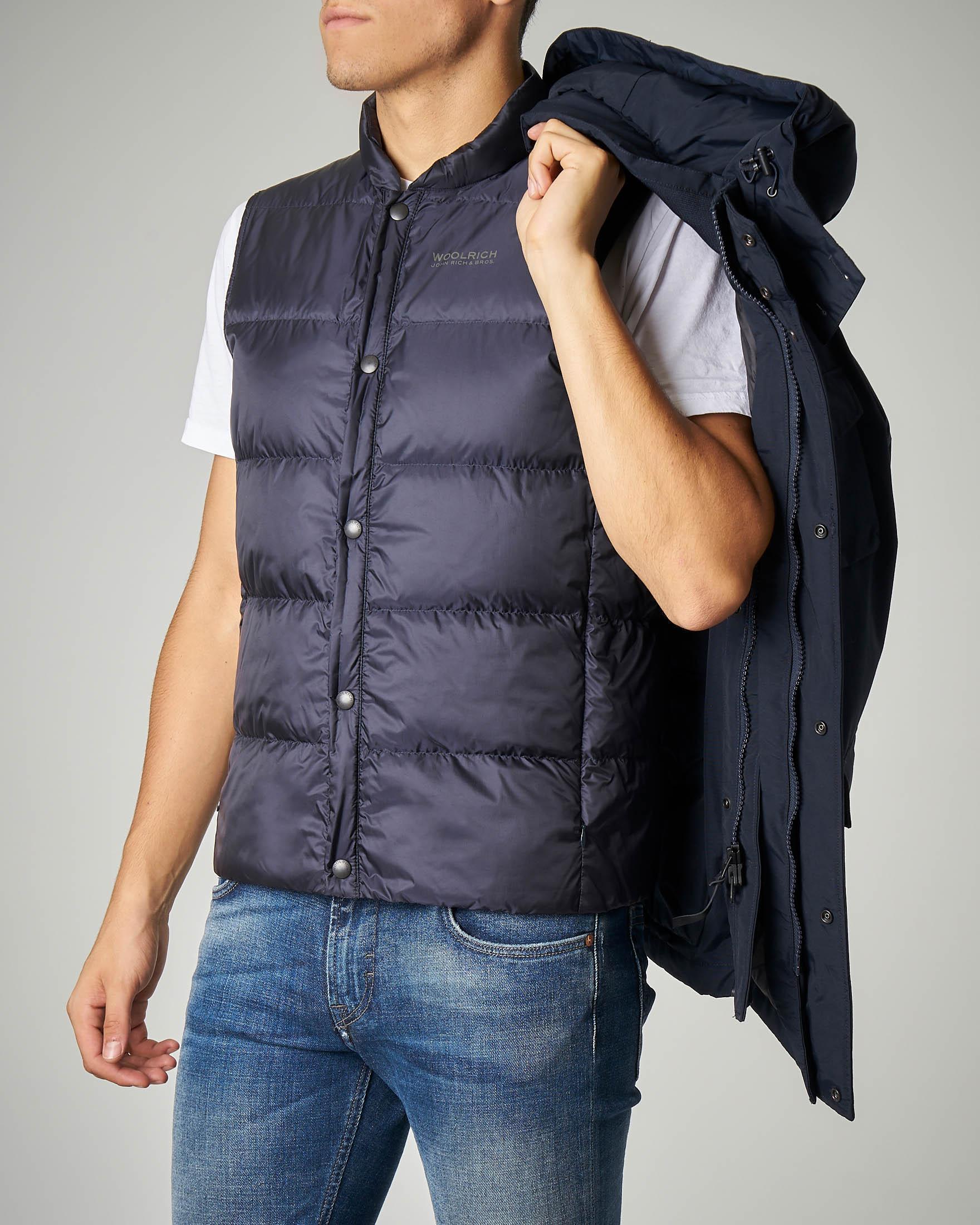 Field Jacket blu con cappuccio staccabile
