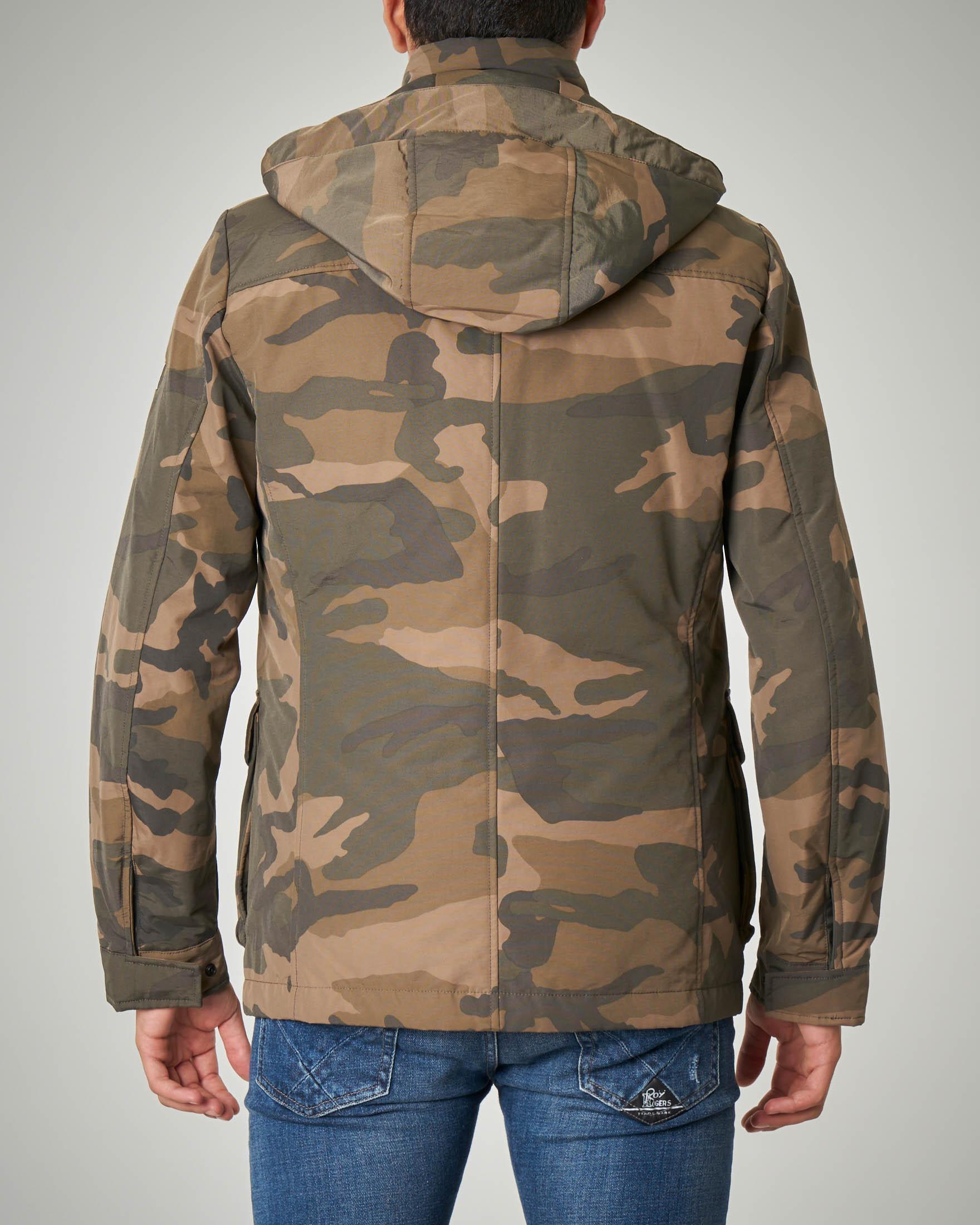 Field Jacket camouflage con cappuccio staccabile